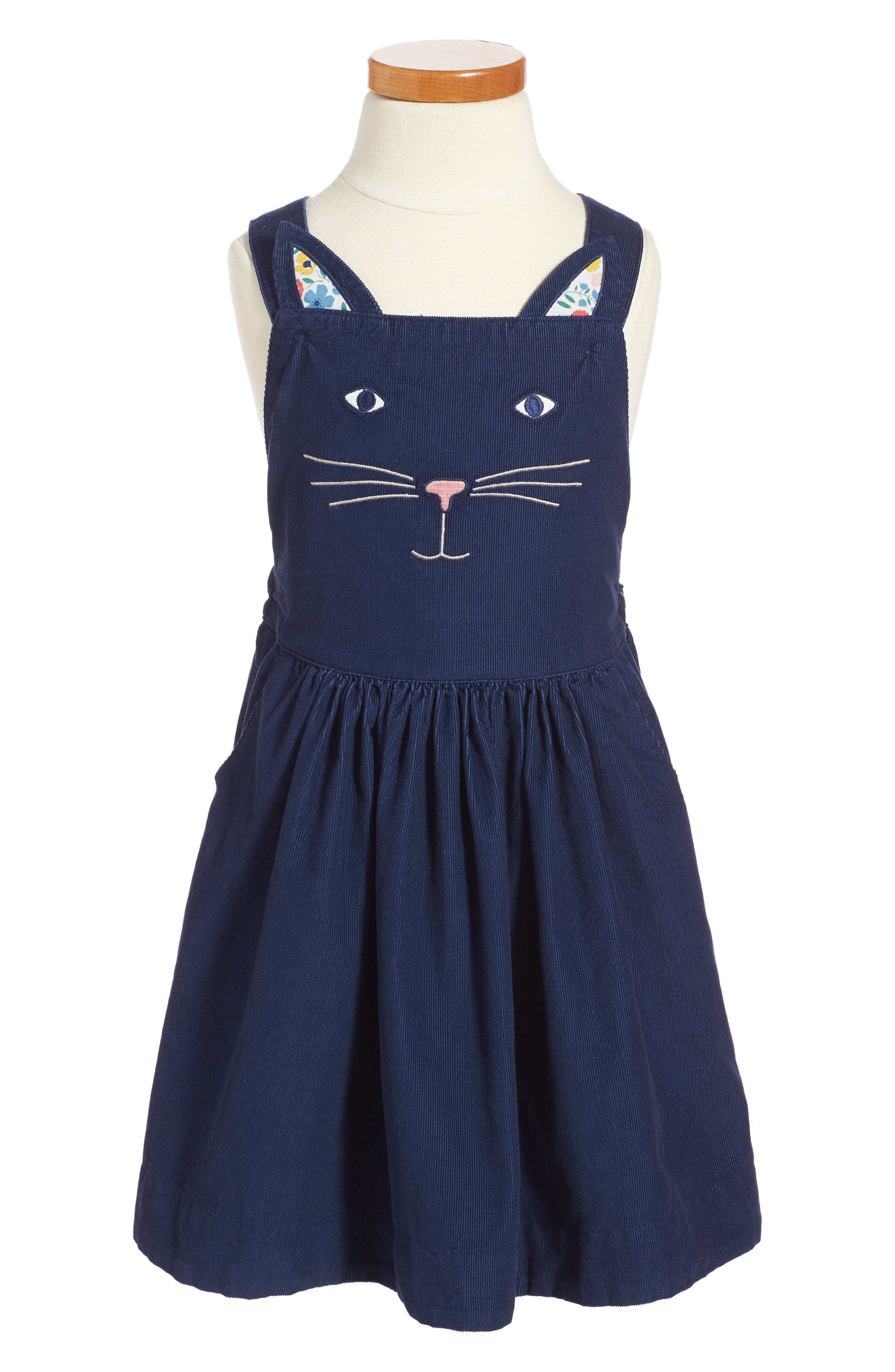MINI BODEN Embroidered Cat Dungaree Dress