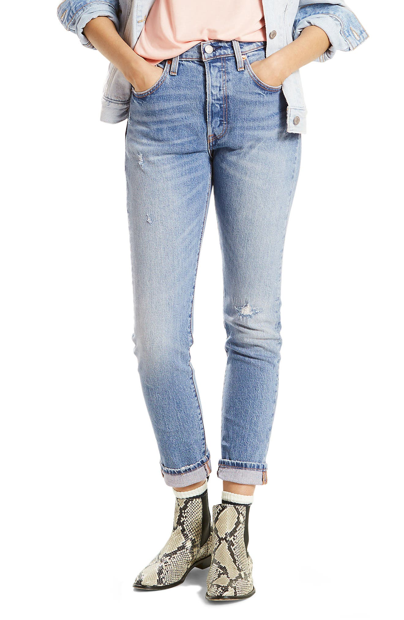 501 High Waist Skinny Jeans,                             Main thumbnail 1, color,                             Post Modern Blues