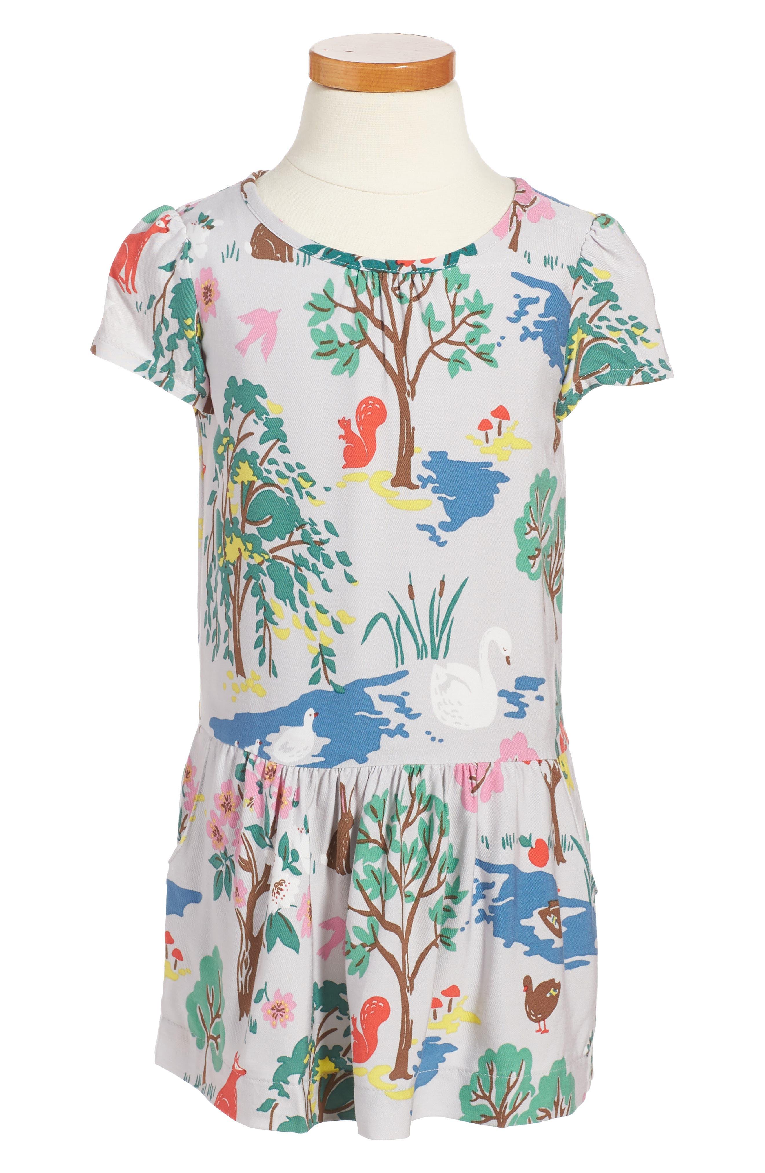 Print Tea Dress,                         Main,                         color, Grey Autumn