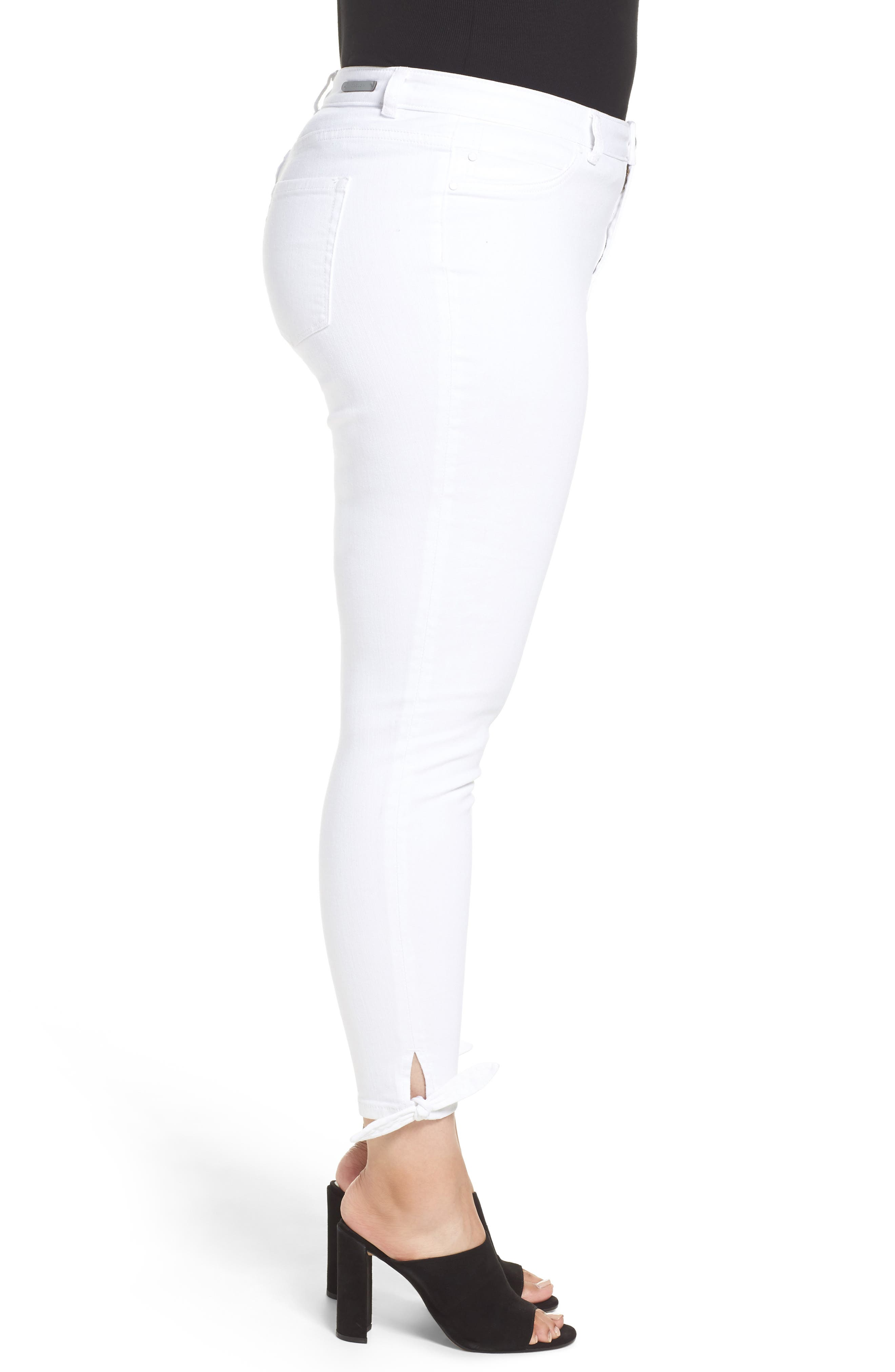 Tie Ankle Skinny Jeans,                             Alternate thumbnail 4, color,                             White