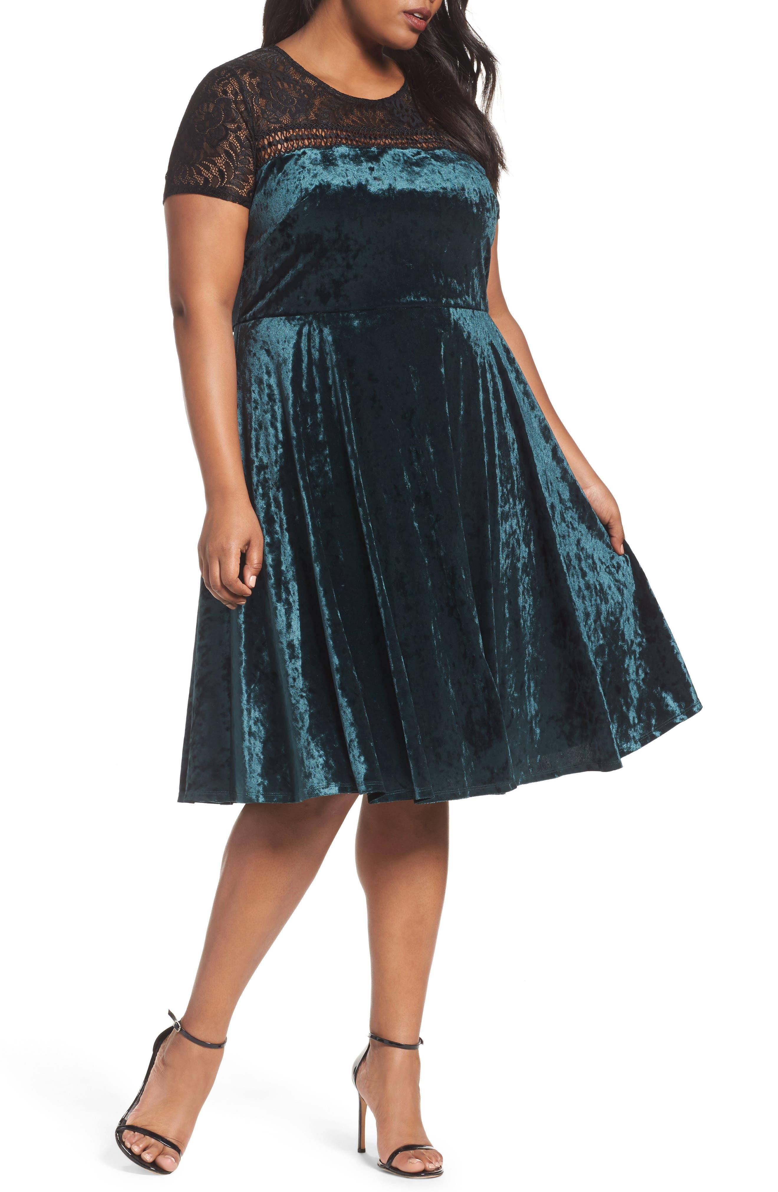 Lace Yoke Velvet Fit & Flare Dress,                         Main,                         color, Spruce