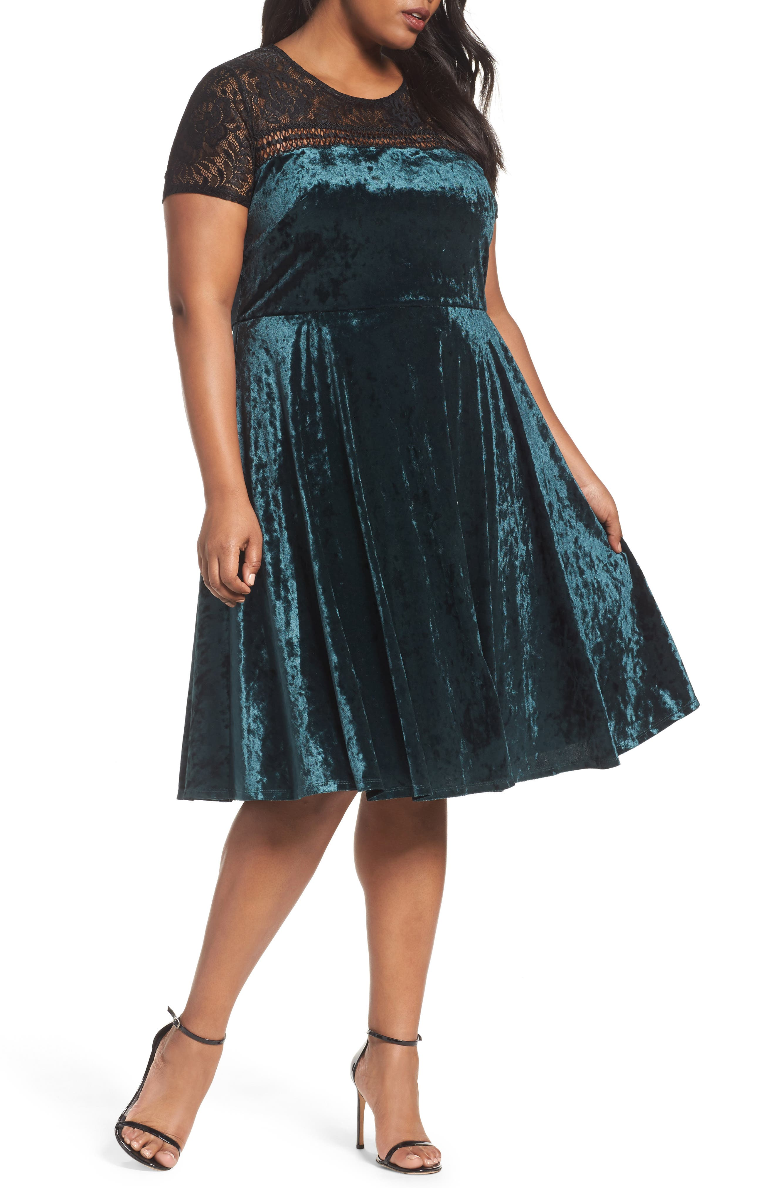 Sangria Lace Yoke Velvet Fit & Flare Dress (Plus Size)