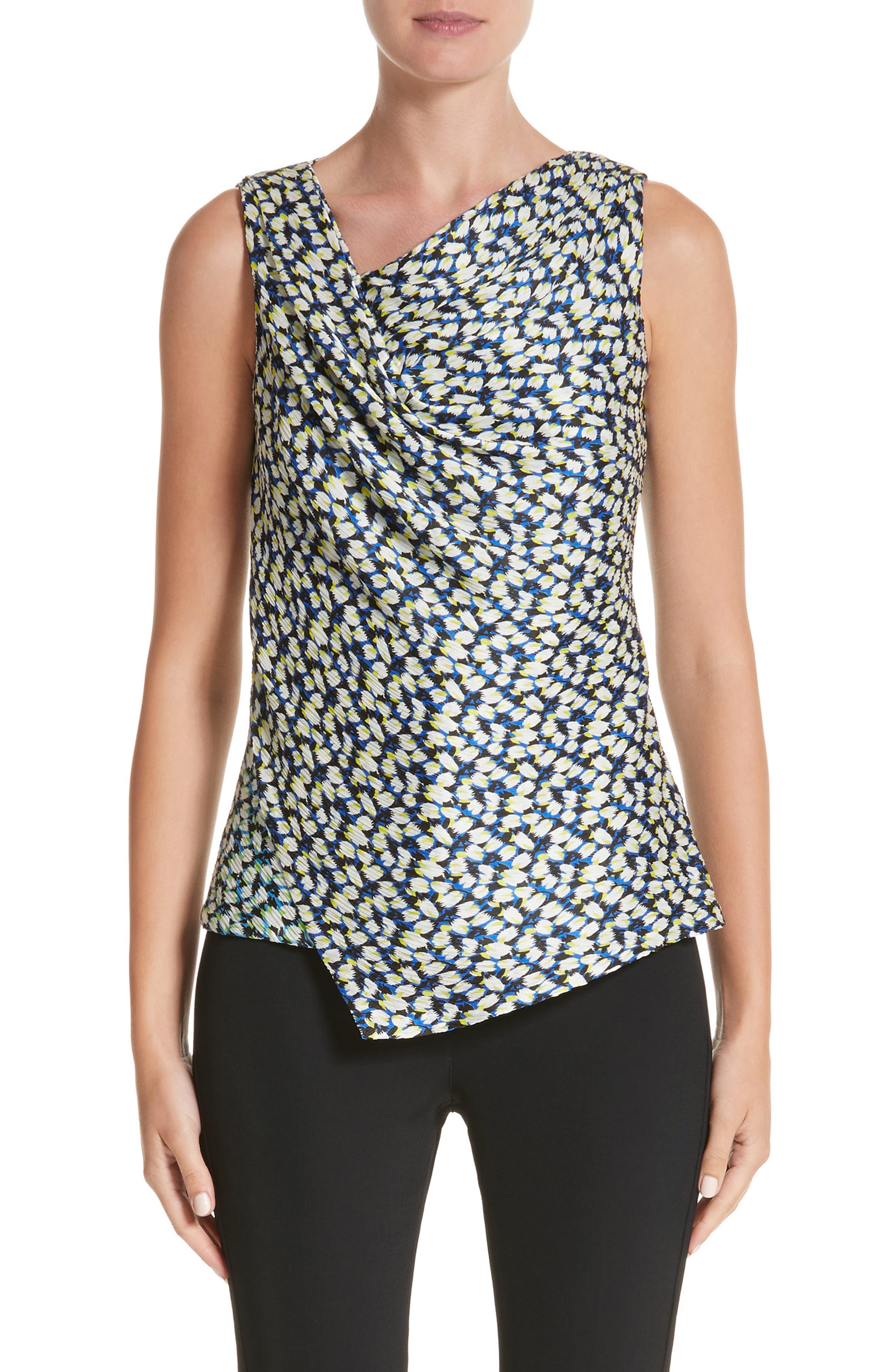 Asymmetrical Crinkle Silk Crepon Top,                         Main,                         color, Light Blue Multi