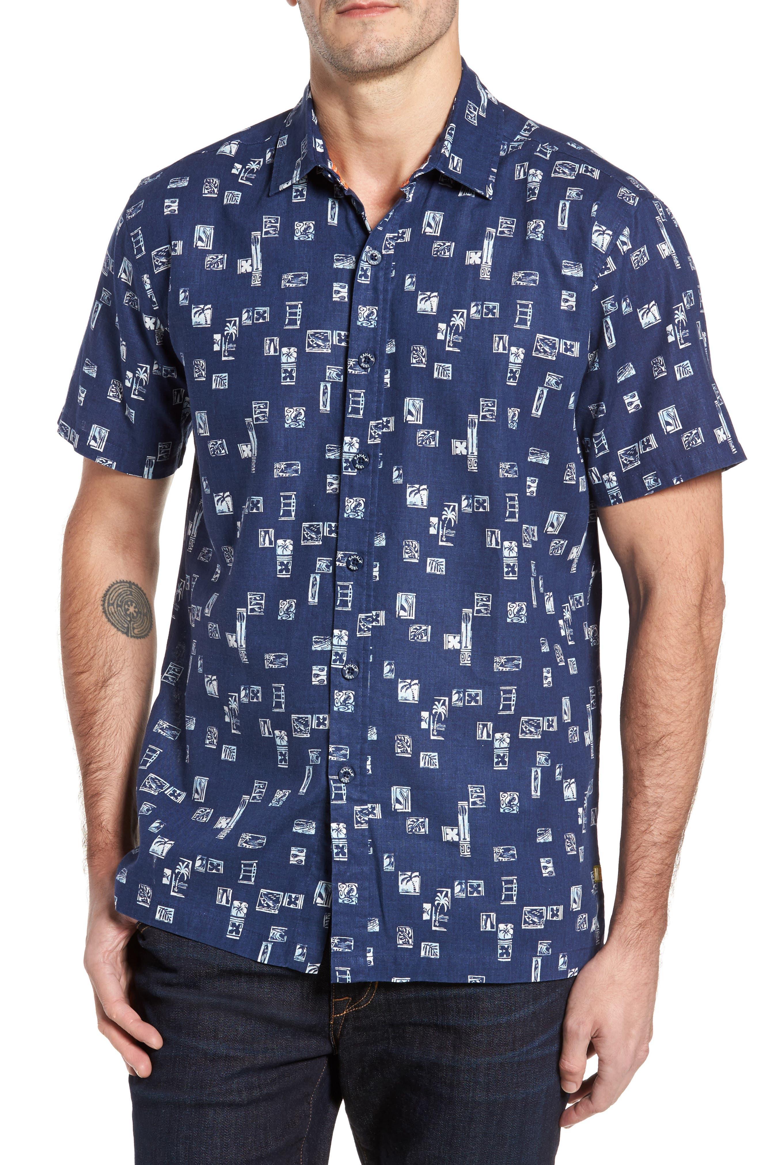 Beach Party Trim Fit Print Sport Shirt,                         Main,                         color, Navy