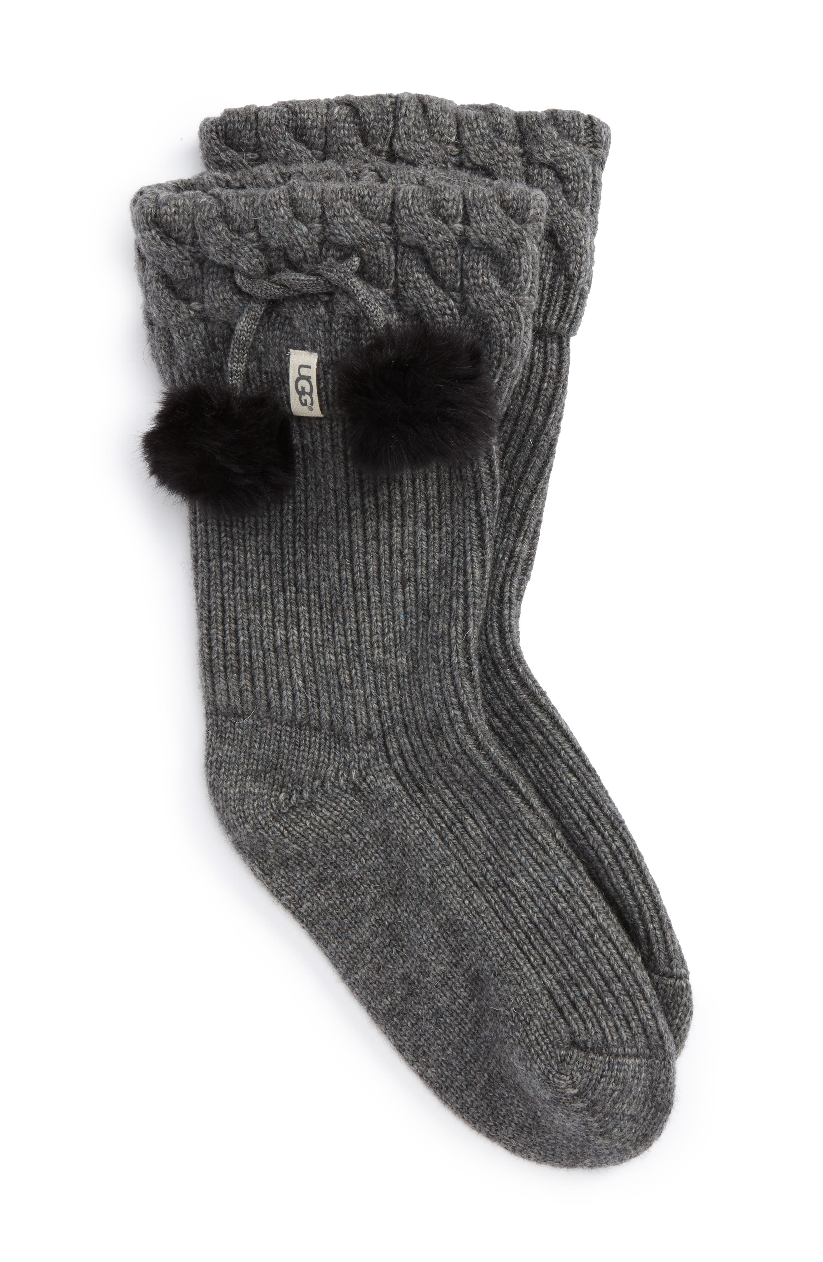 UGGpure<sup>™</sup> Pompom Short Rain Boot Sock,                             Main thumbnail 1, color,                             Charcoal Heather Wool
