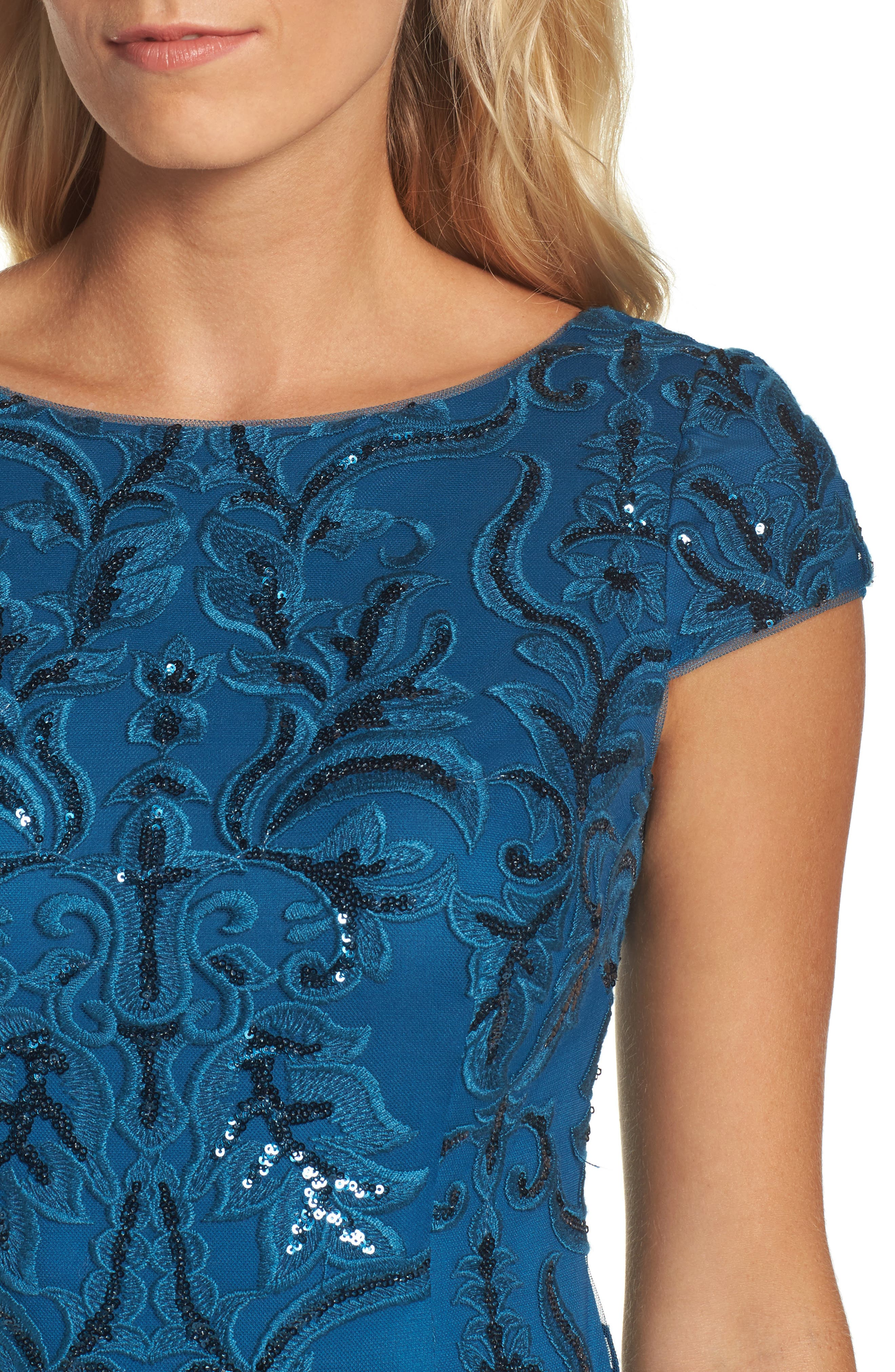 Sequin Embroidered Sheath Dress,                             Alternate thumbnail 4, color,                             Evening Sky