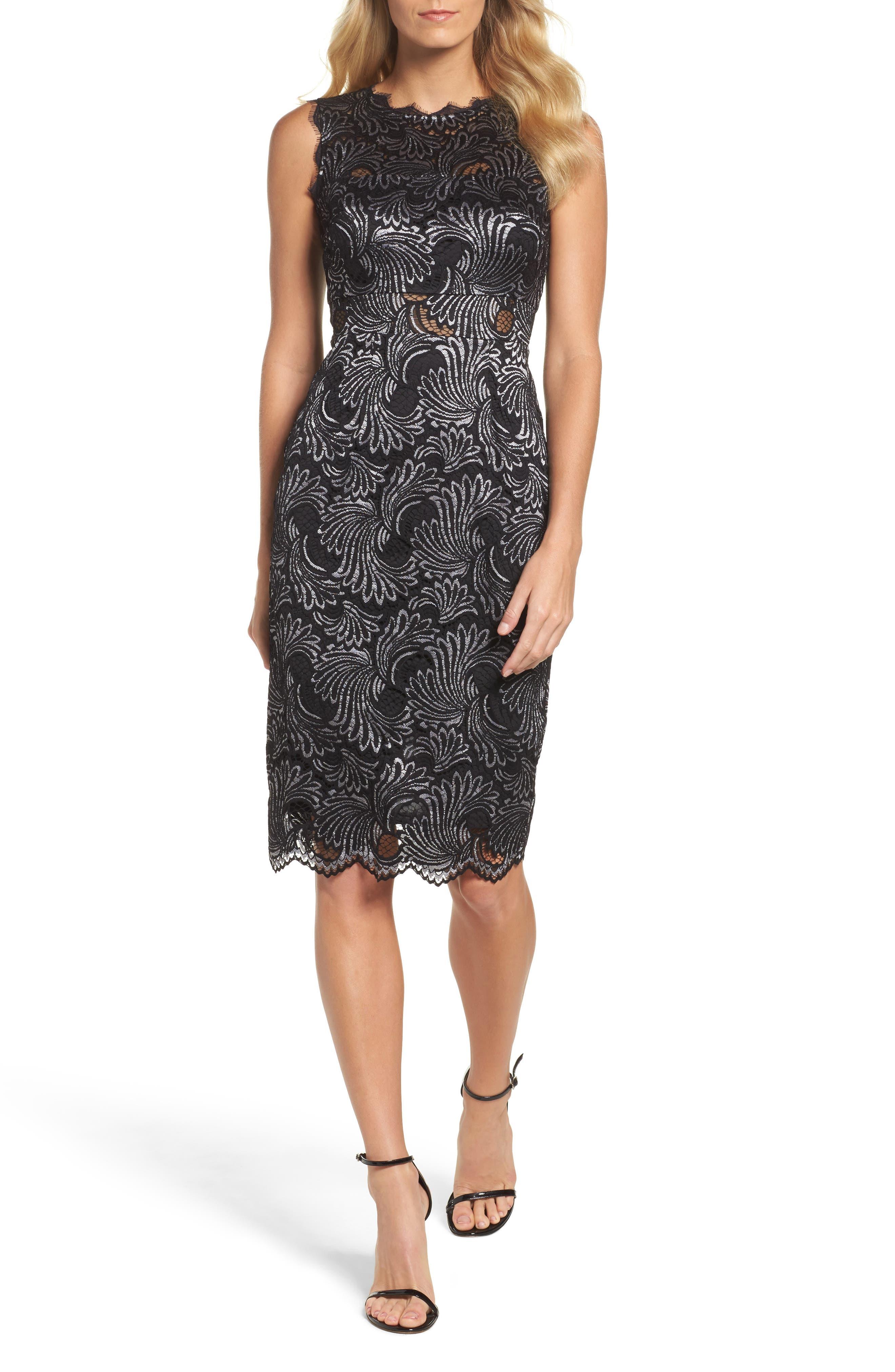 Two-Tone Lace Sheath Dress,                         Main,                         color, Black/ Silver