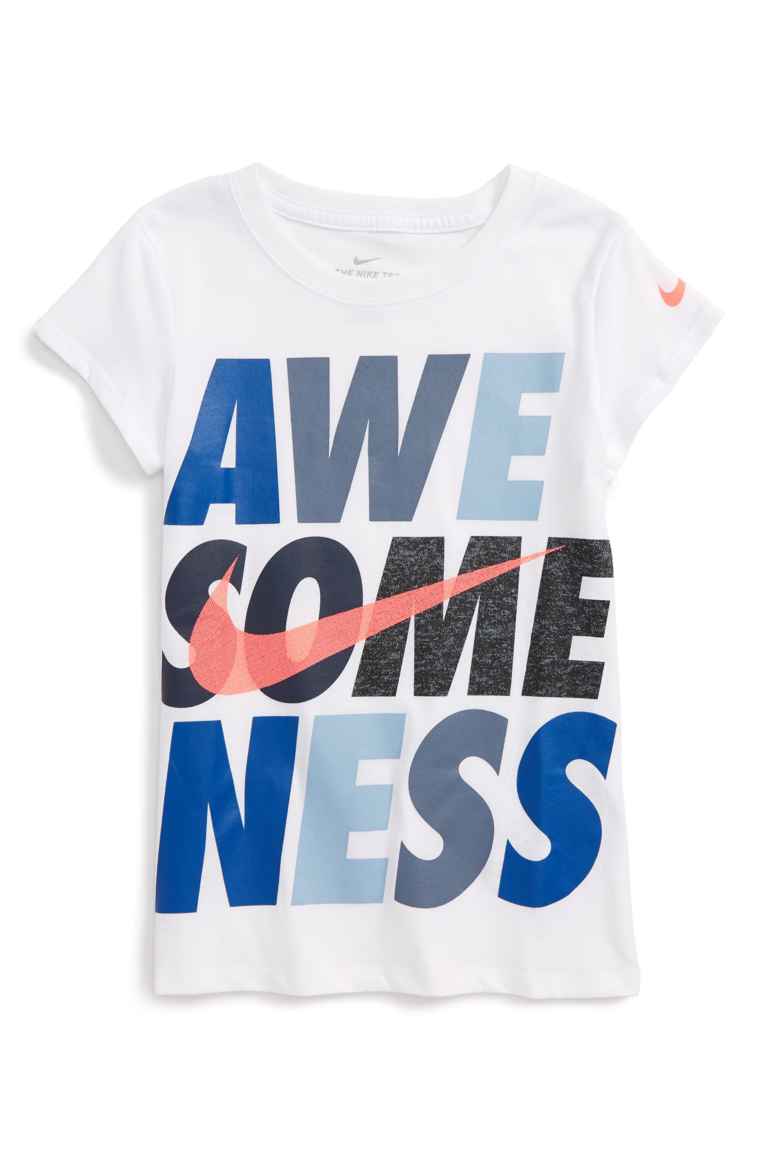 Alternate Image 1 Selected - Nike Awesomeness Graphic Tee (Toddler Girls & Little Girls)