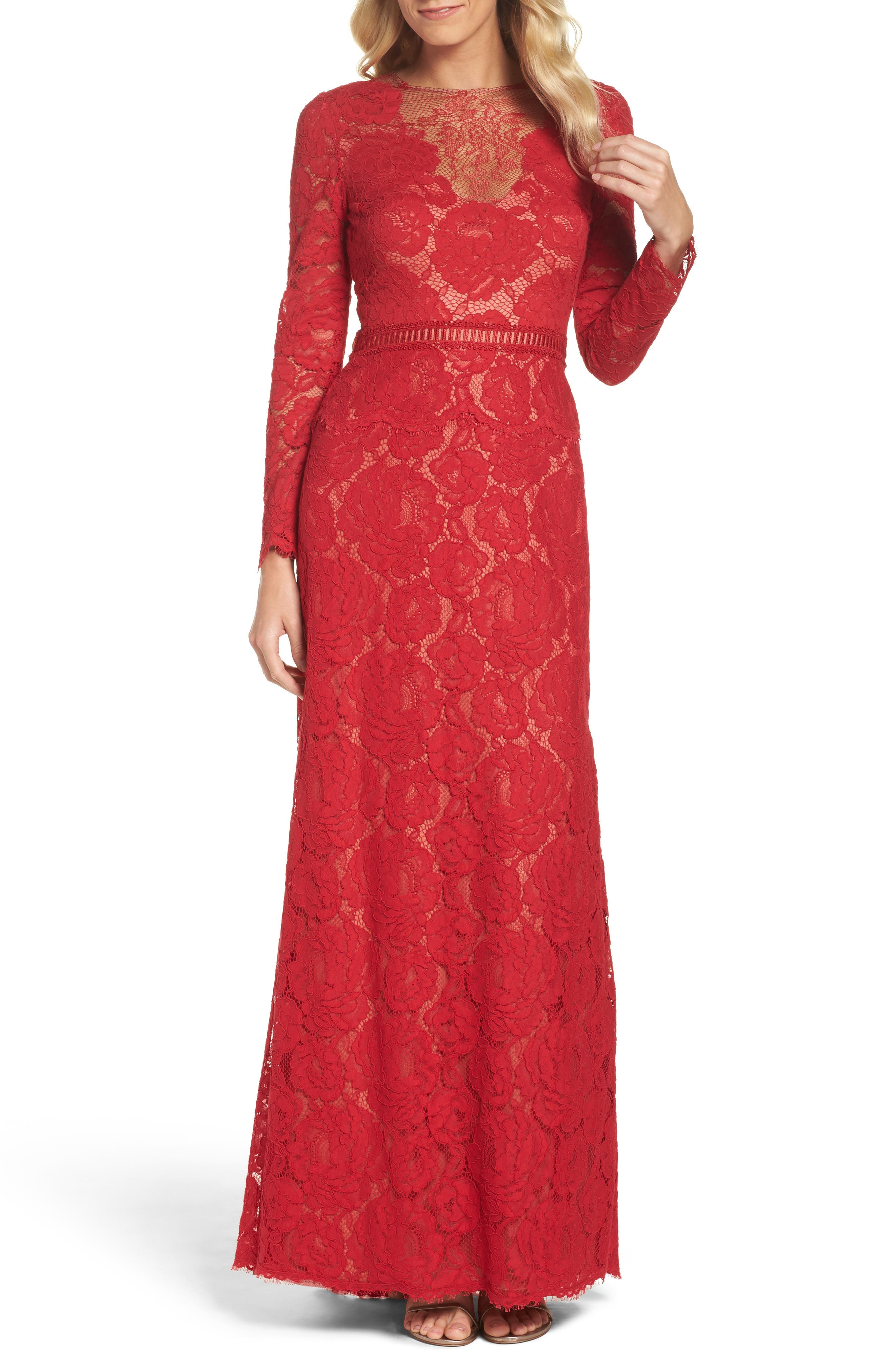 Corded Lace Gown,                         Main,                         color, Cardinal Red/ Nude