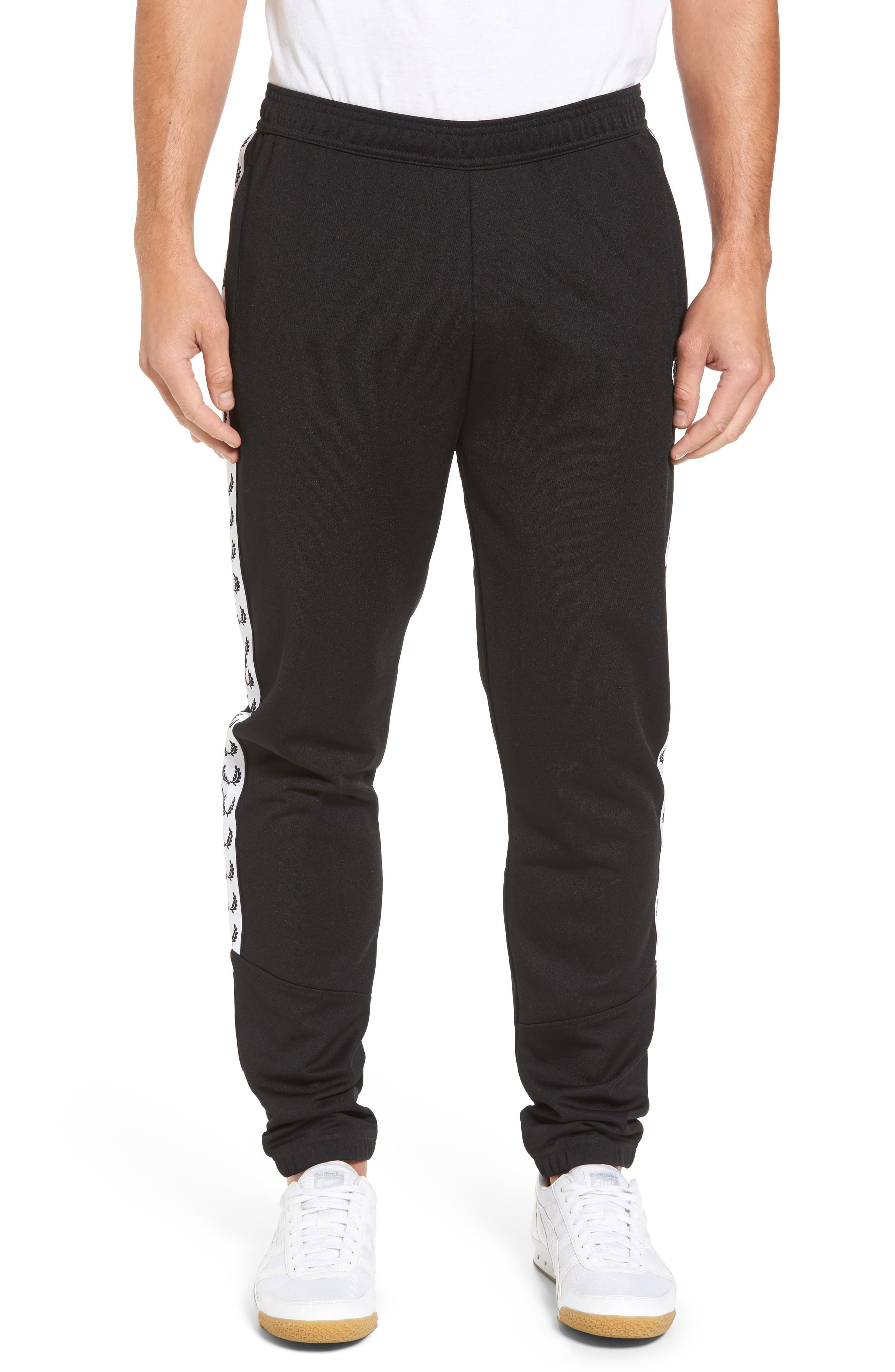 Taped Track Pants,                         Main,                         color, Black