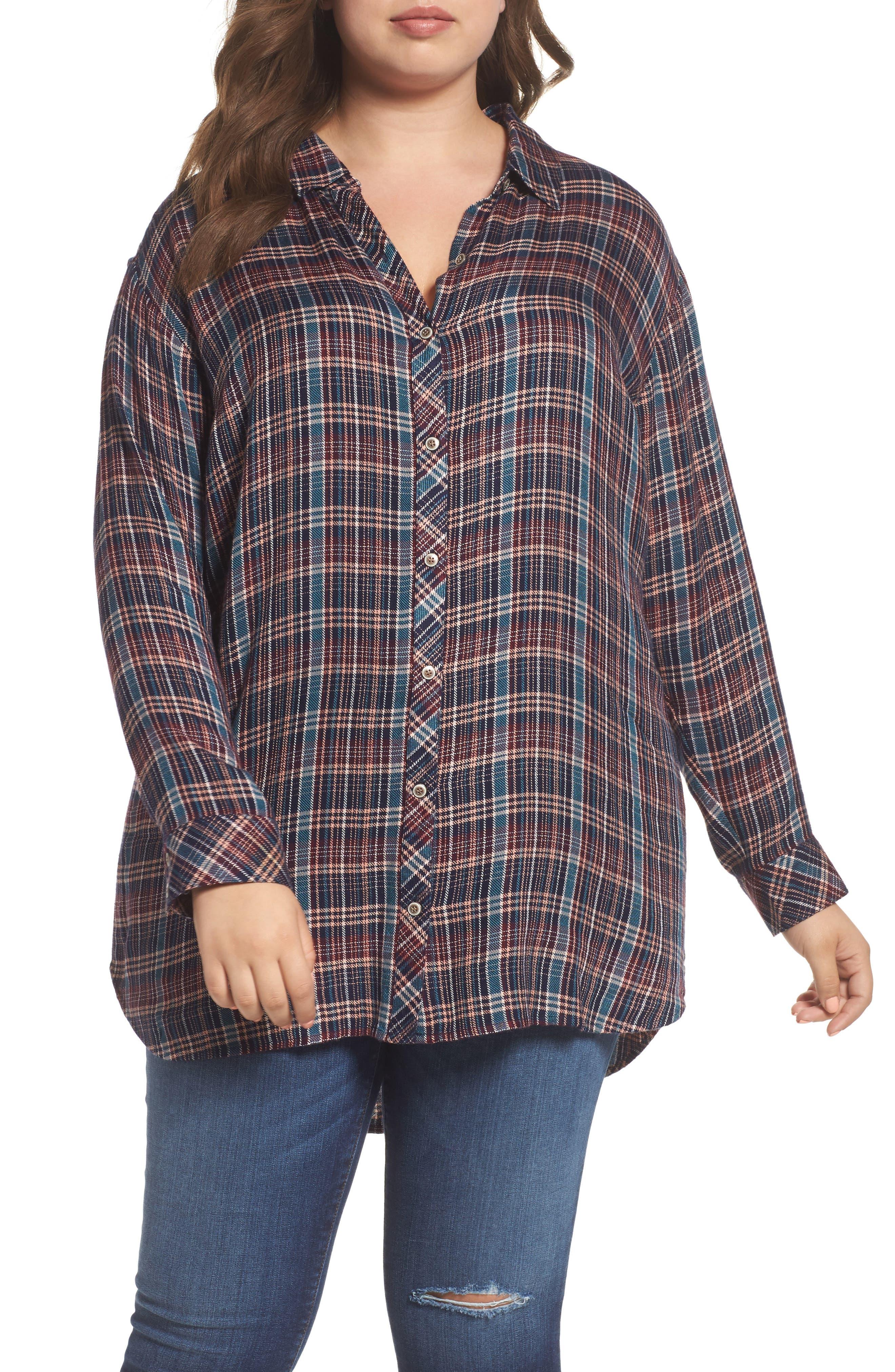 Button Side Detail Tunic Shirt,                         Main,                         color, Navy Karen Plaid