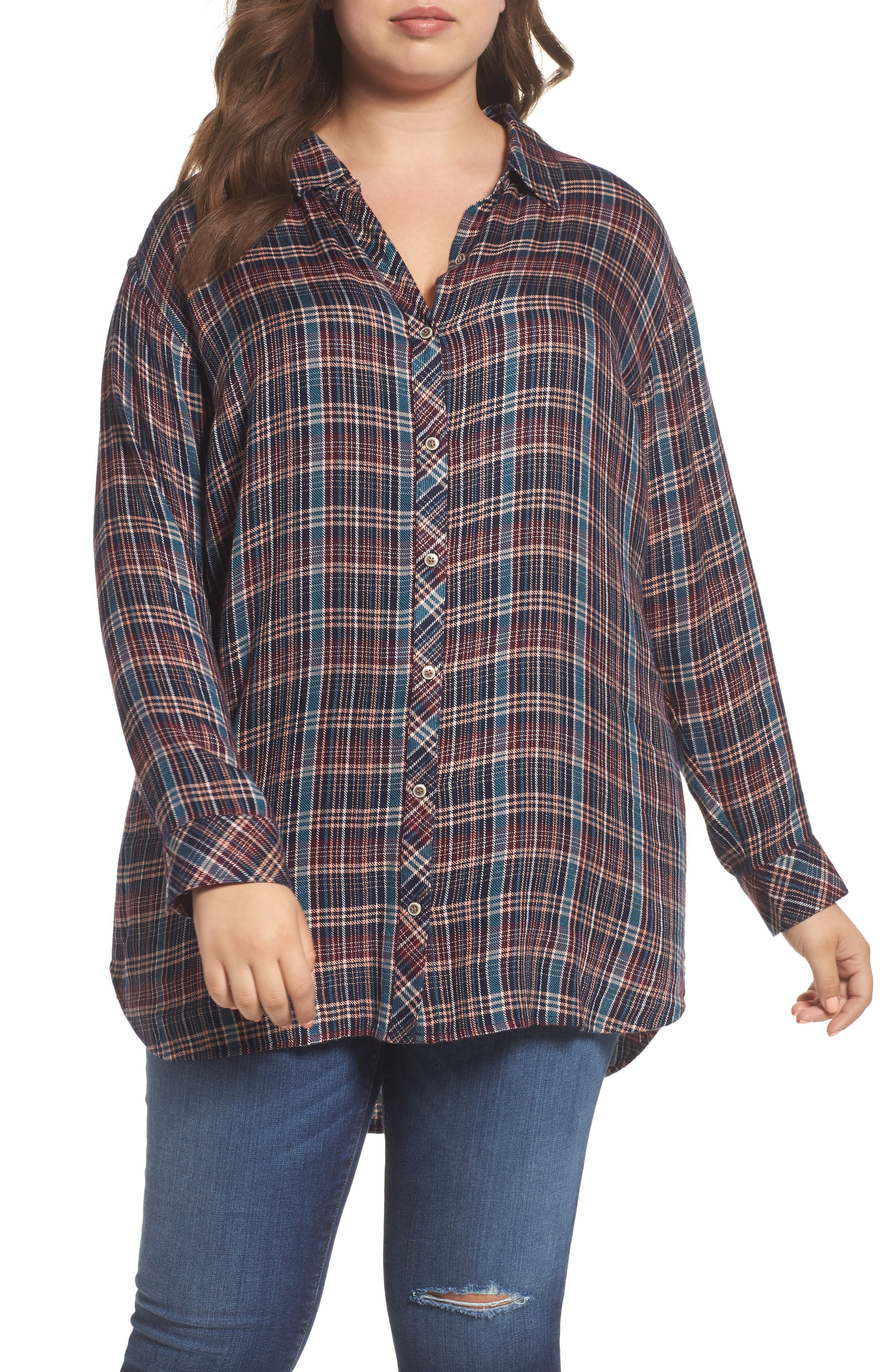Caslon® Button Side Detail Tunic Shirt (Plus Size)