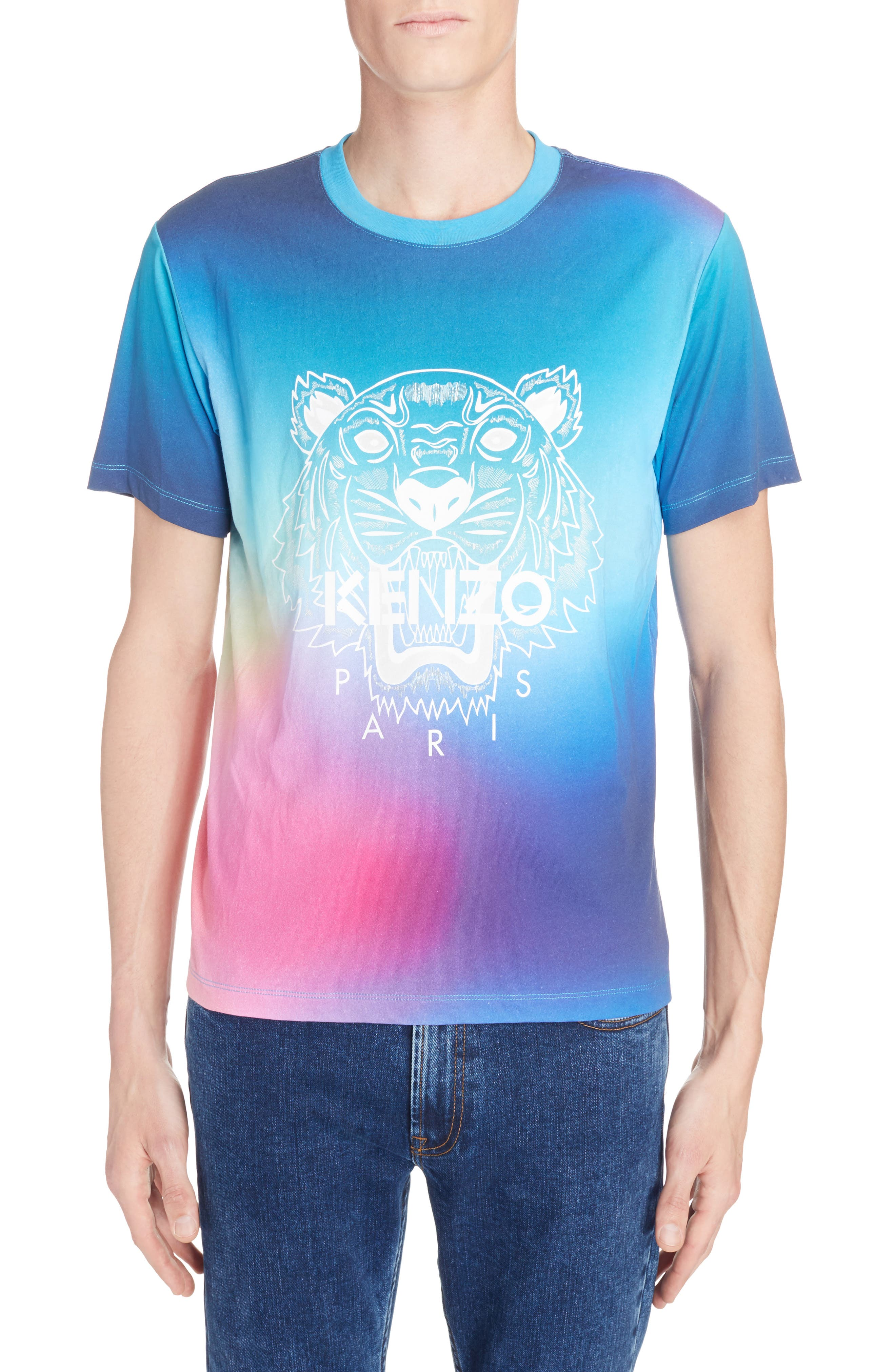 Rainbow Tiger Print T-Shirt,                             Main thumbnail 1, color,                             Cyan Blue