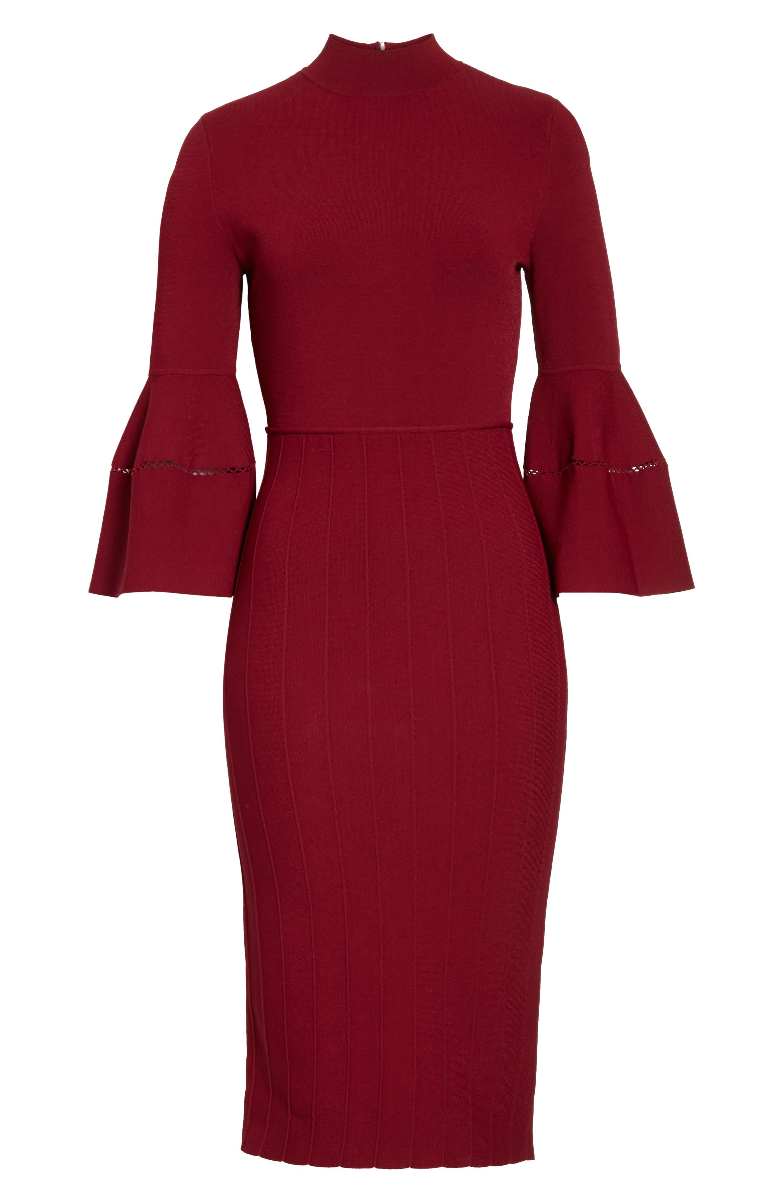 Alternate Image 6  - Lela Rose Knit Bell Sleeve Dress