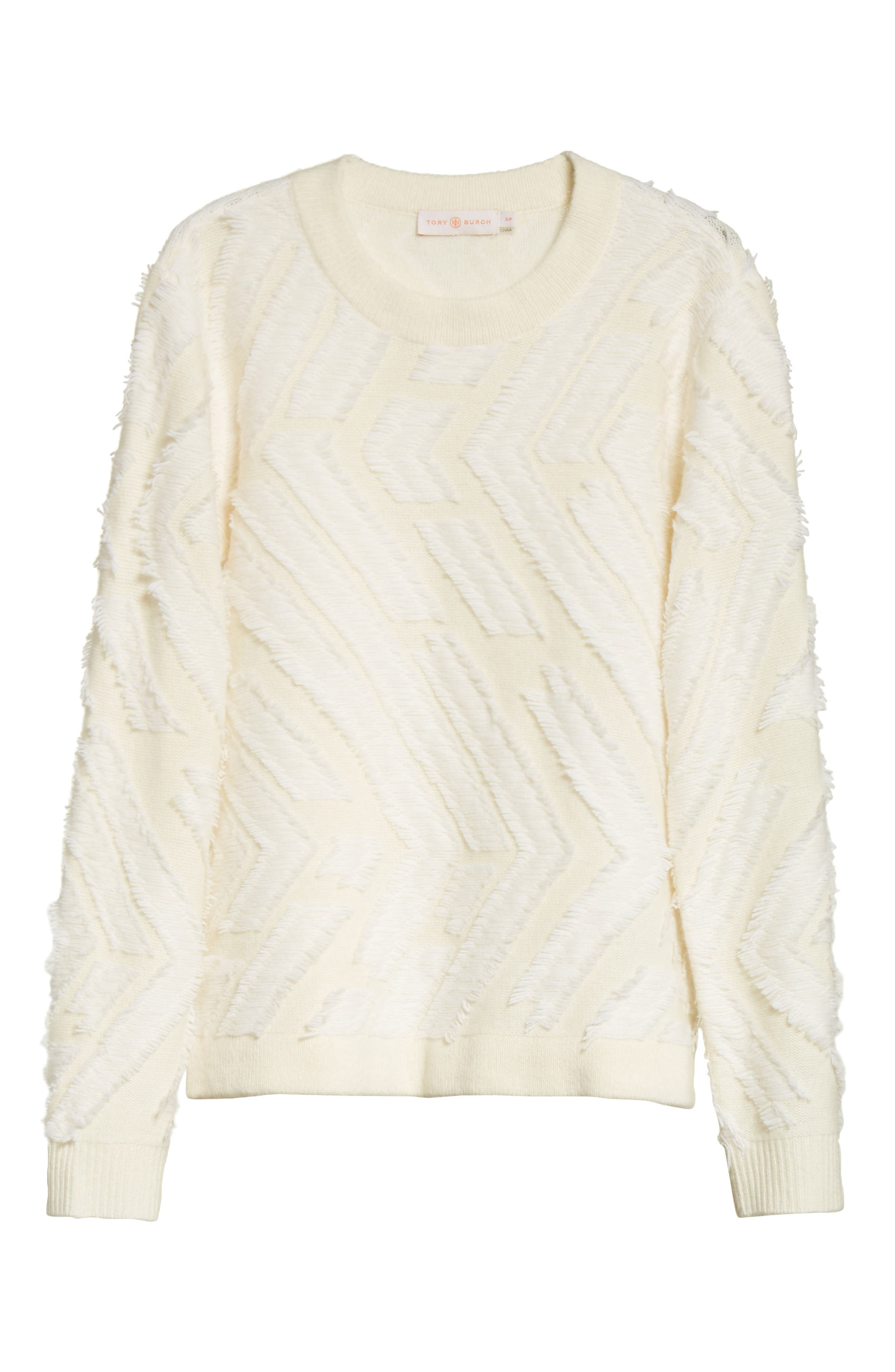 Textured Wool Sweater,                             Alternate thumbnail 6, color,                             New Ivory