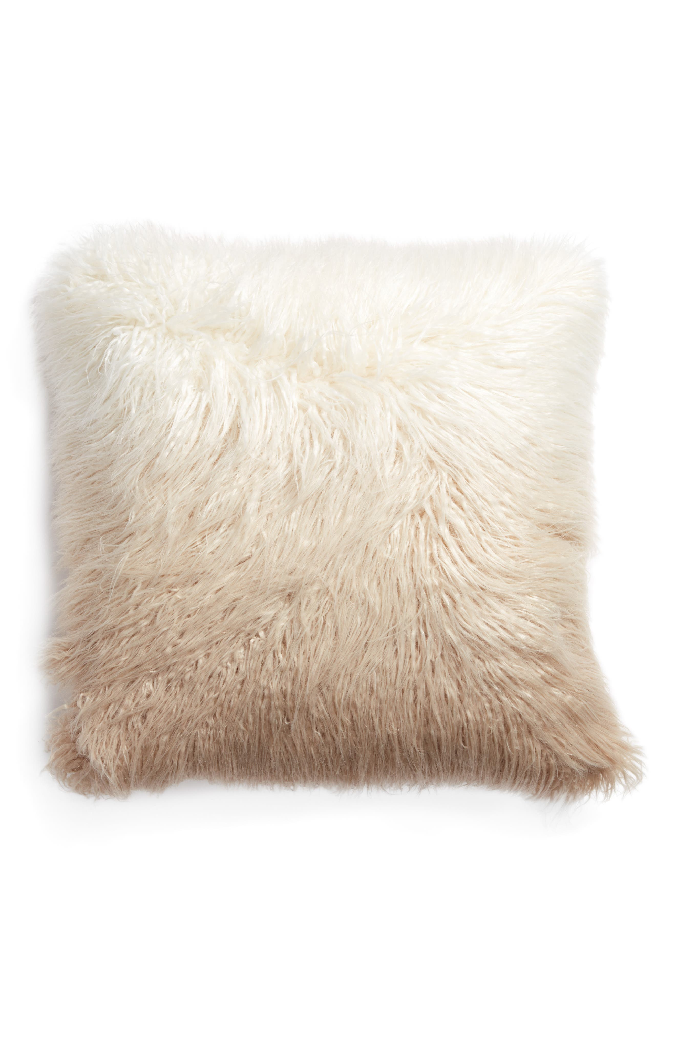 Ombré Faux Fur Flokati Accent Pillow,                         Main,                         color, Ivory