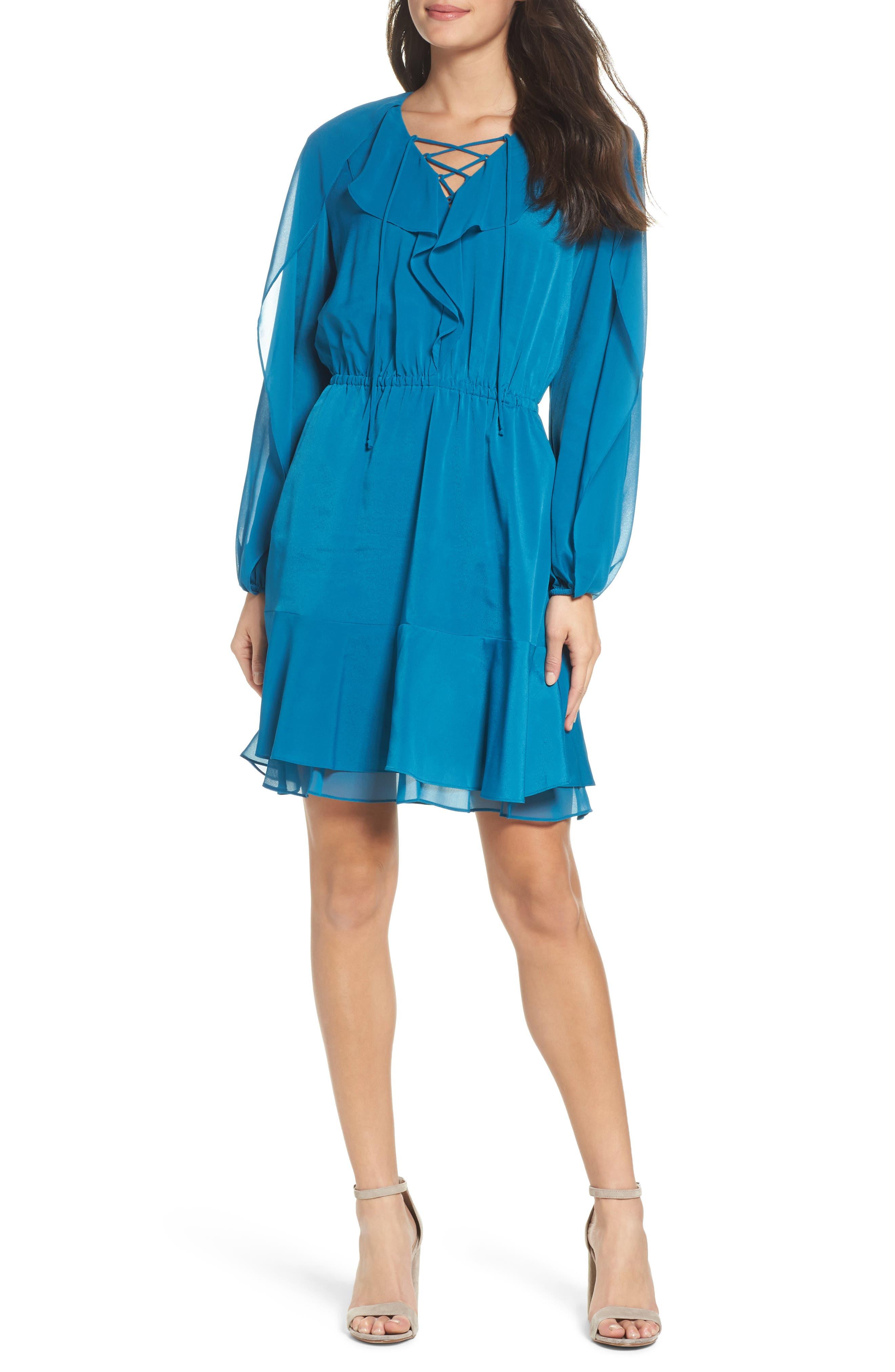 Keely Ruffle Blouson Dress,                         Main,                         color, Ocean