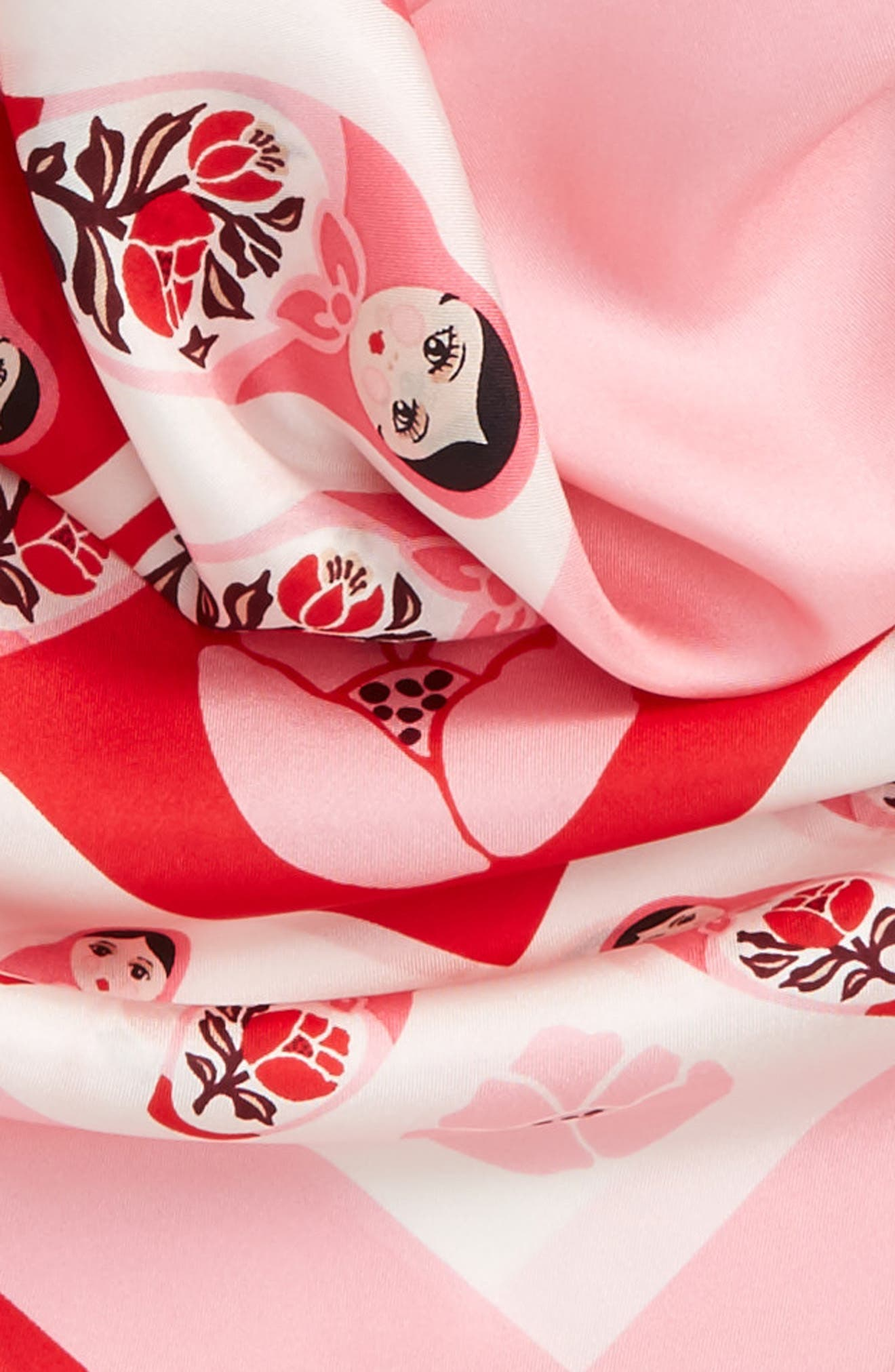 nesting dolls silk scarf,                             Alternate thumbnail 3, color,                             Charm Red
