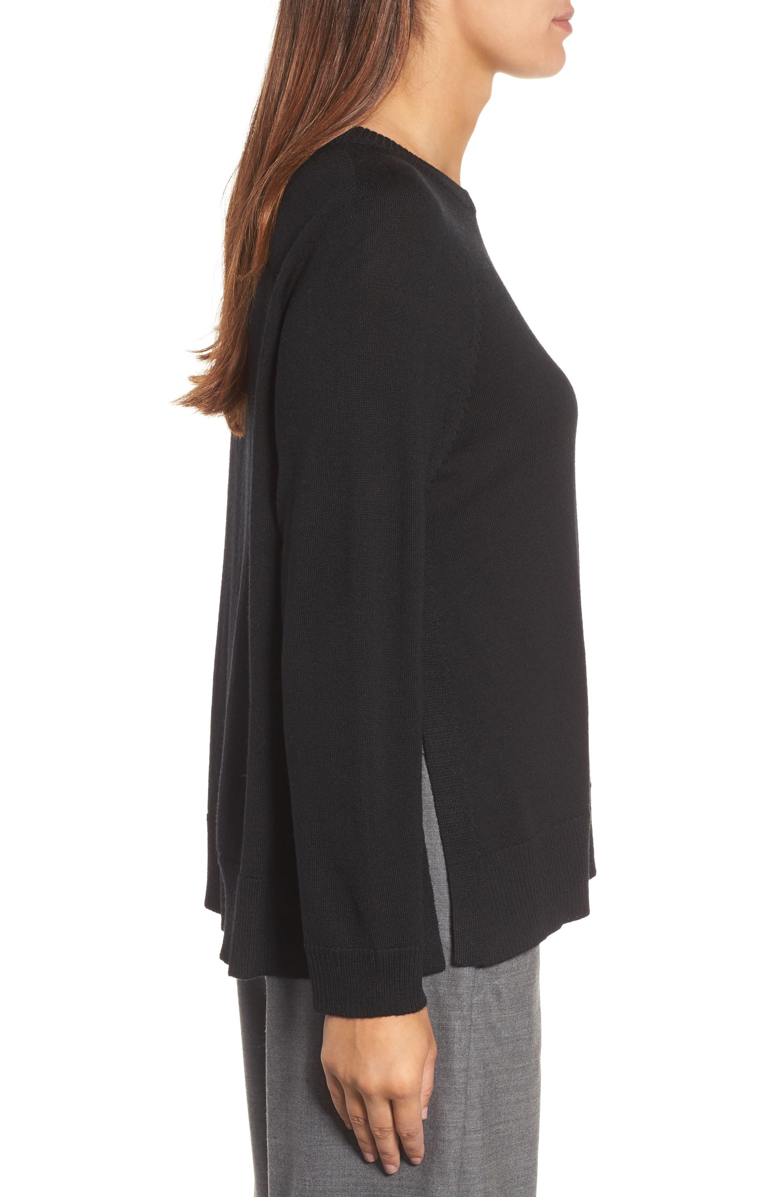 Alternate Image 3  - Eileen Fisher Side Slit Merino Wool Sweater