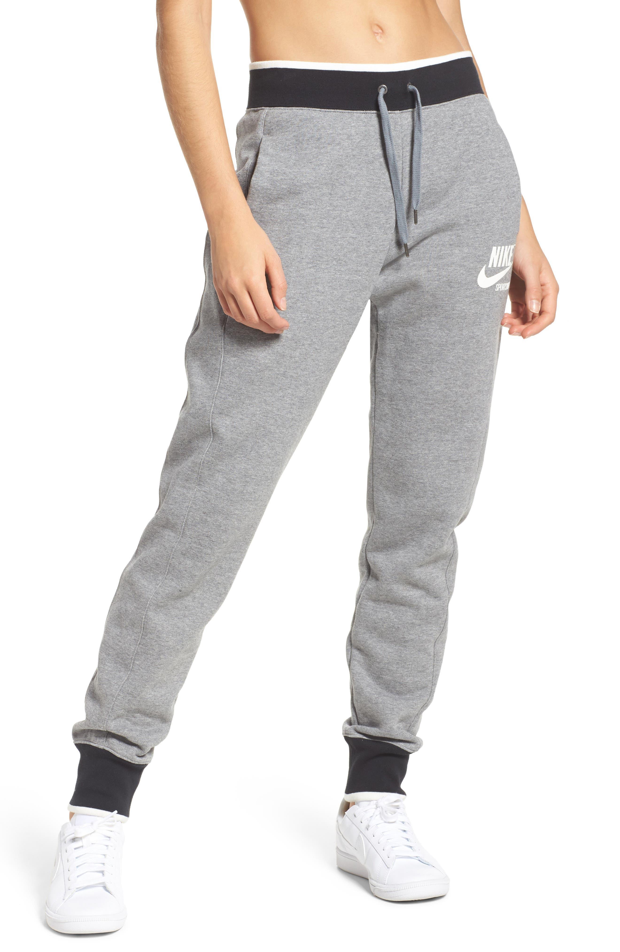 Fleece Knit Pants,                         Main,                         color, Carbon Heather/ Outdoor Green