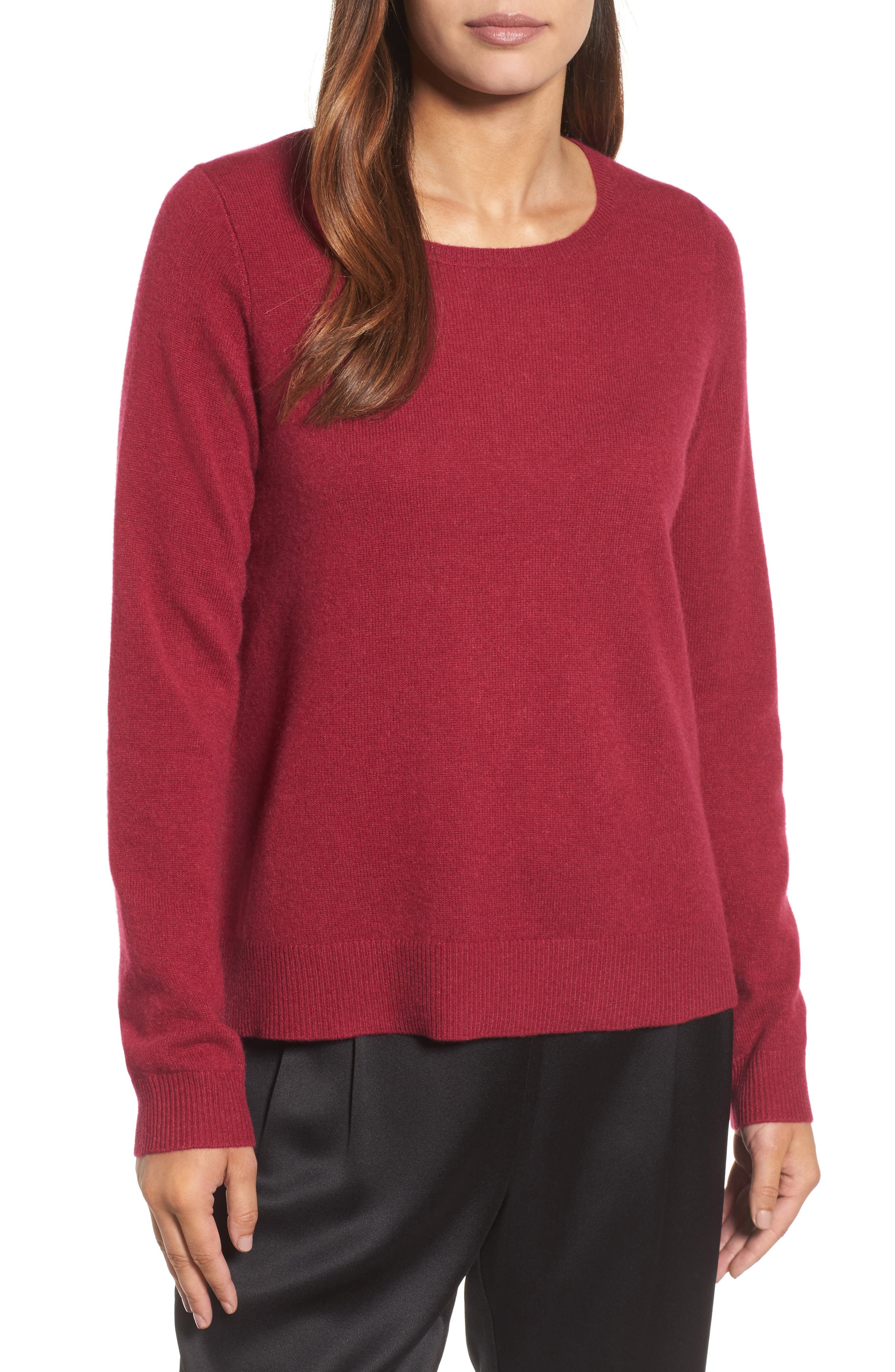 Cashmere Sweater,                         Main,                         color, Hibiscus