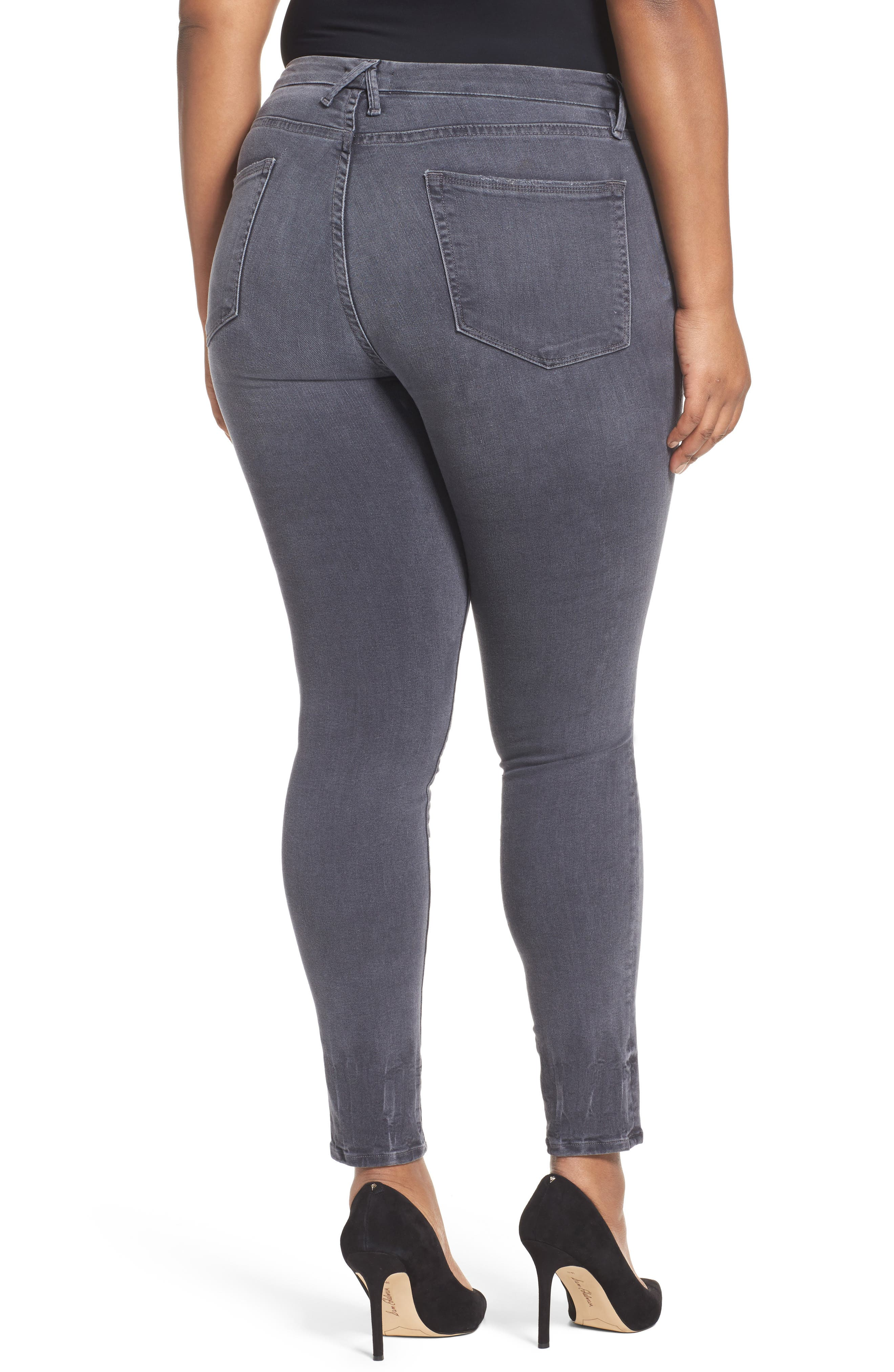 Alternate Image 7  - Good American Good Legs High Waist Skinny Jeans (Grey 002) (Extended Sizes)