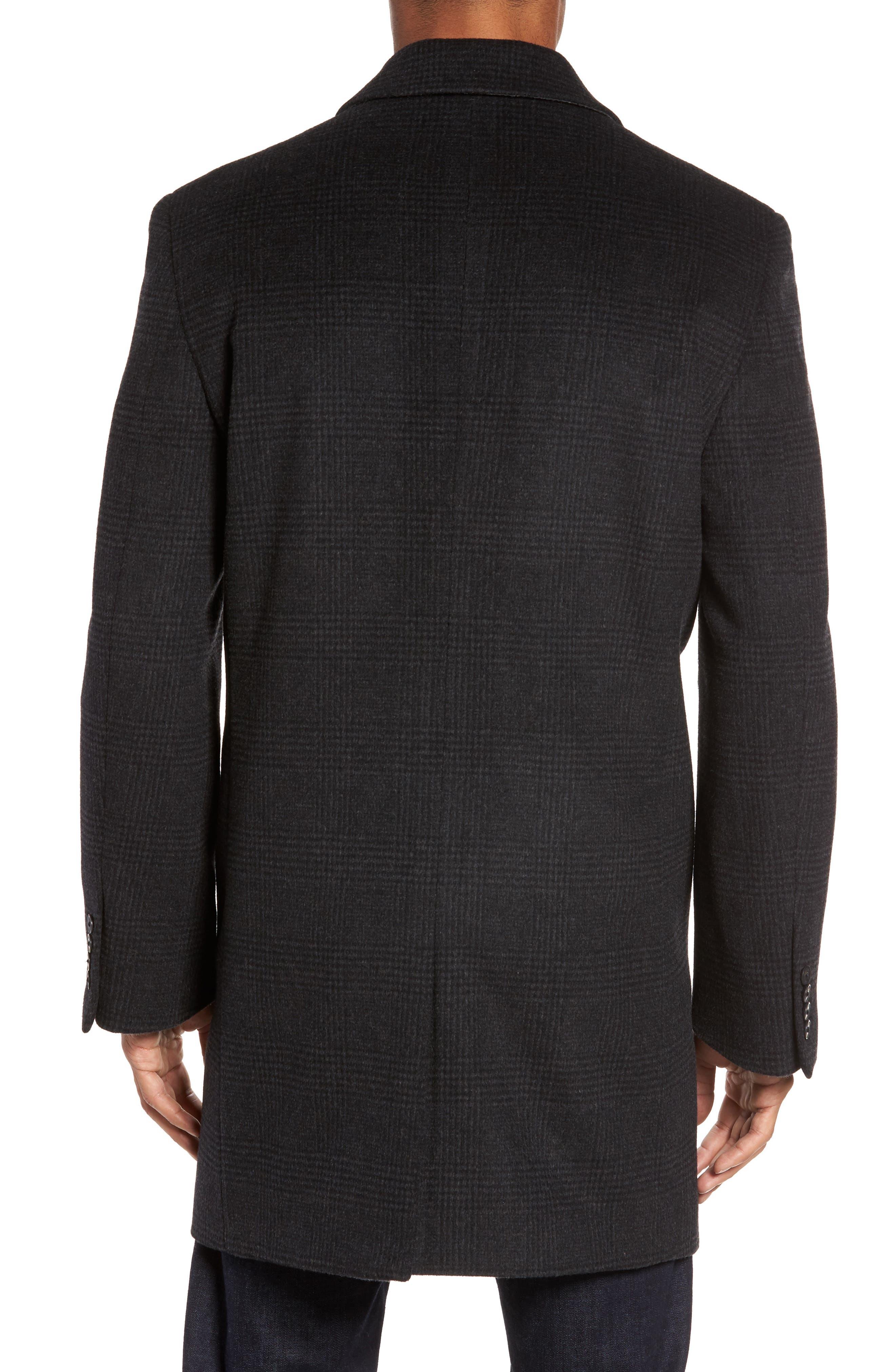 Turner Plaid Wool Blend Topcoat,                             Alternate thumbnail 2, color,                             Dark Charcoal