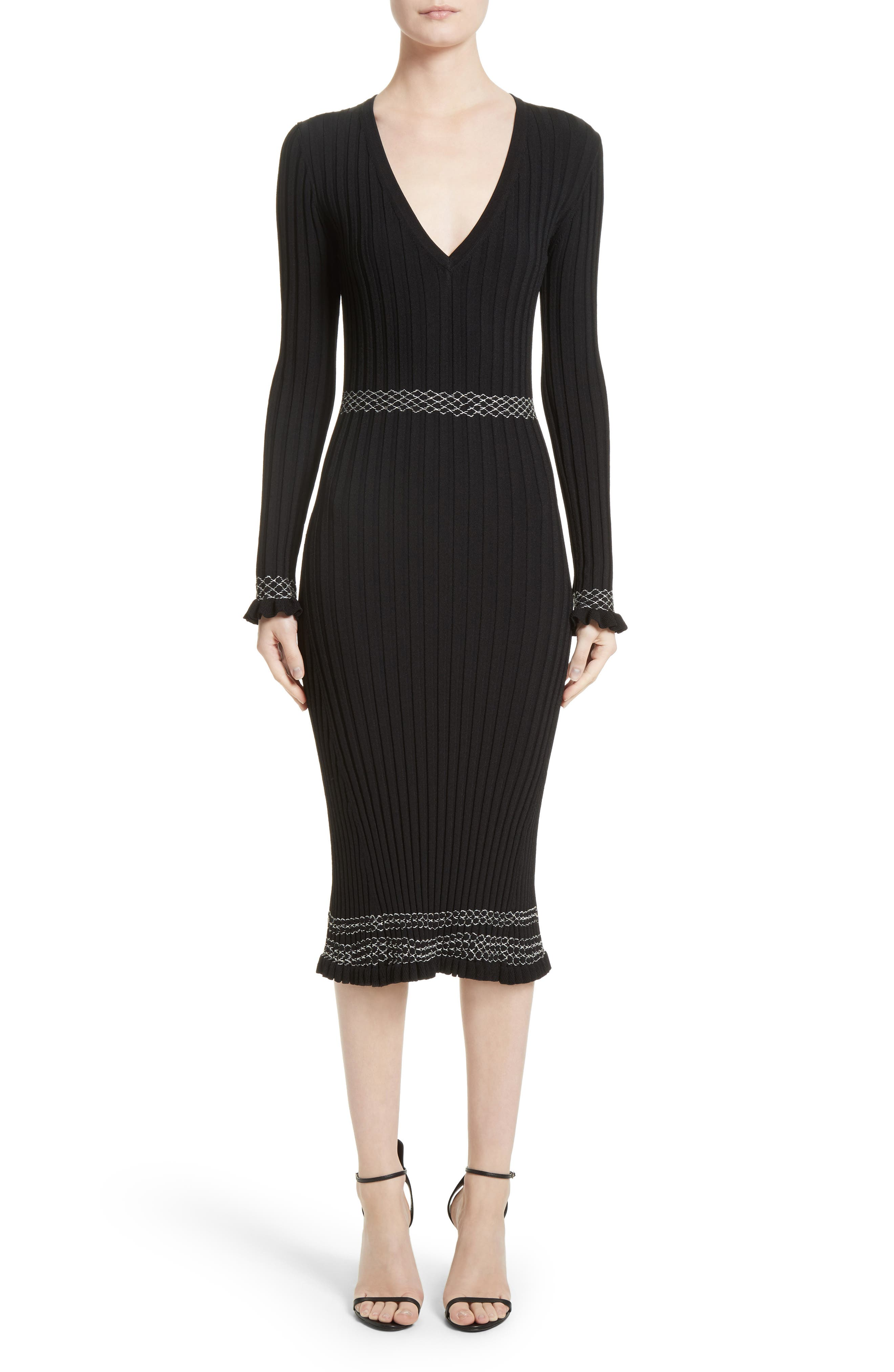 Ruffle Hem Knit Dress,                         Main,                         color, Black