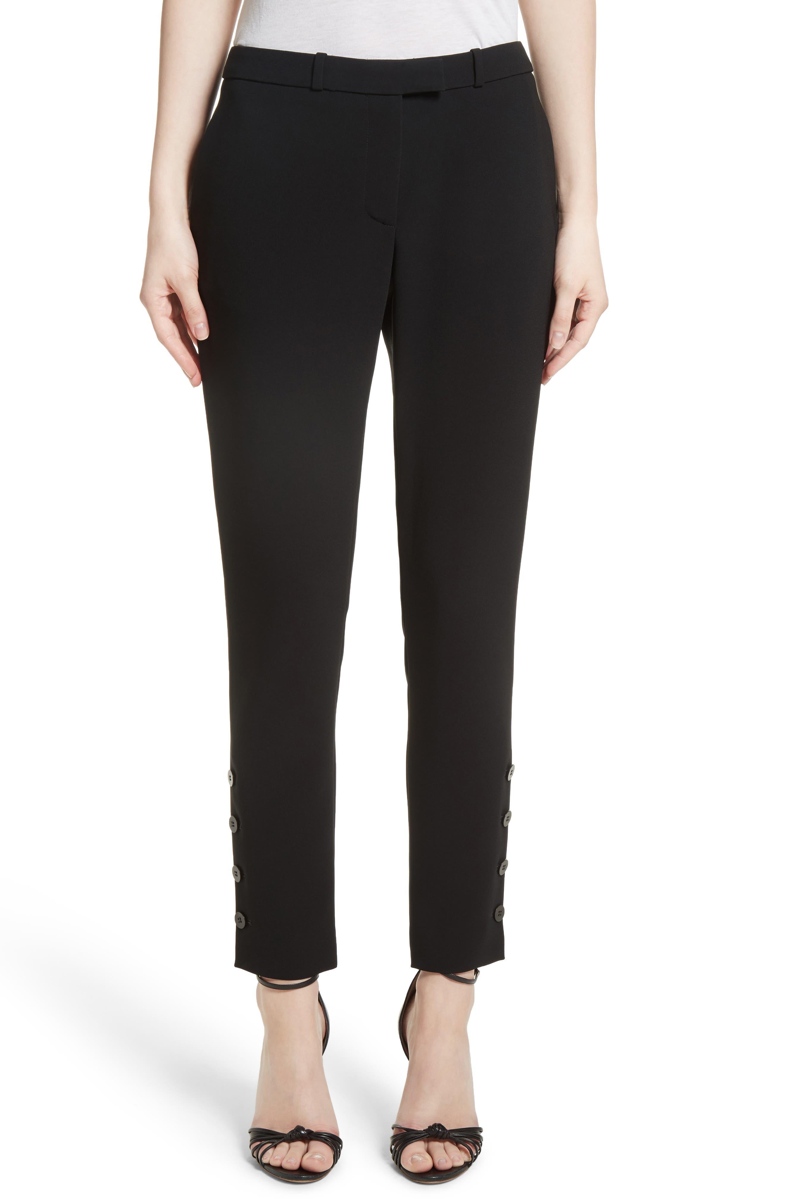 Tristan Button Detail Skinny Pants,                         Main,                         color, Black