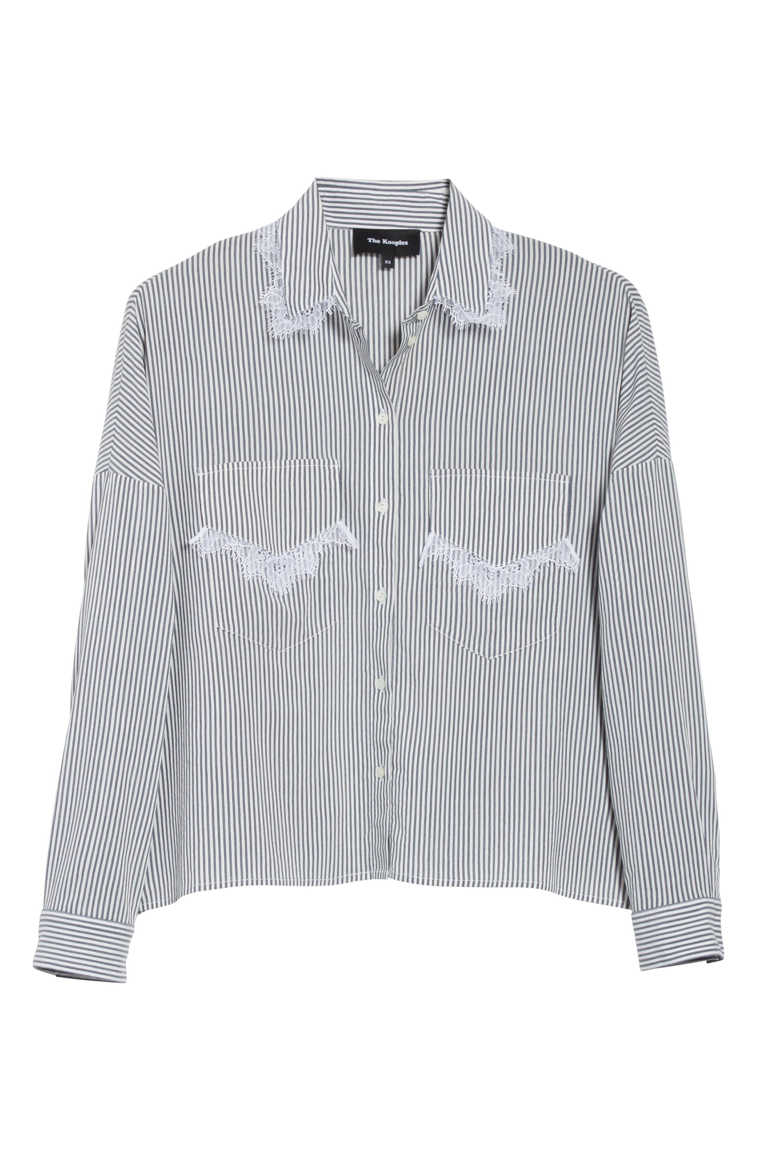 Alternate Image 6  - The Kooples James Lace Trim Stripe Shirt