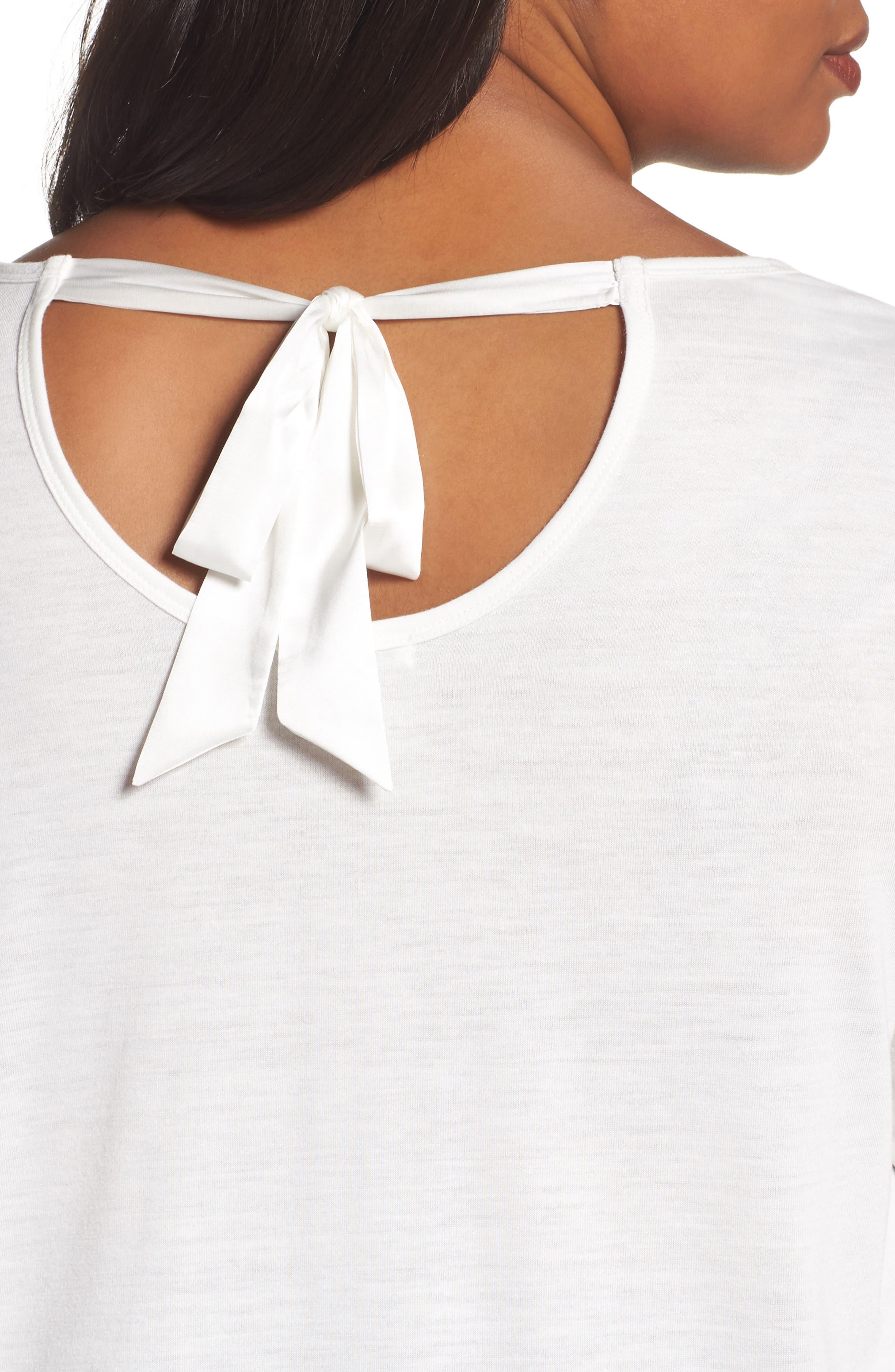 Alternate Image 4  - Sejour Back Tie Long Sleeve Swing Tee (Plus Size)