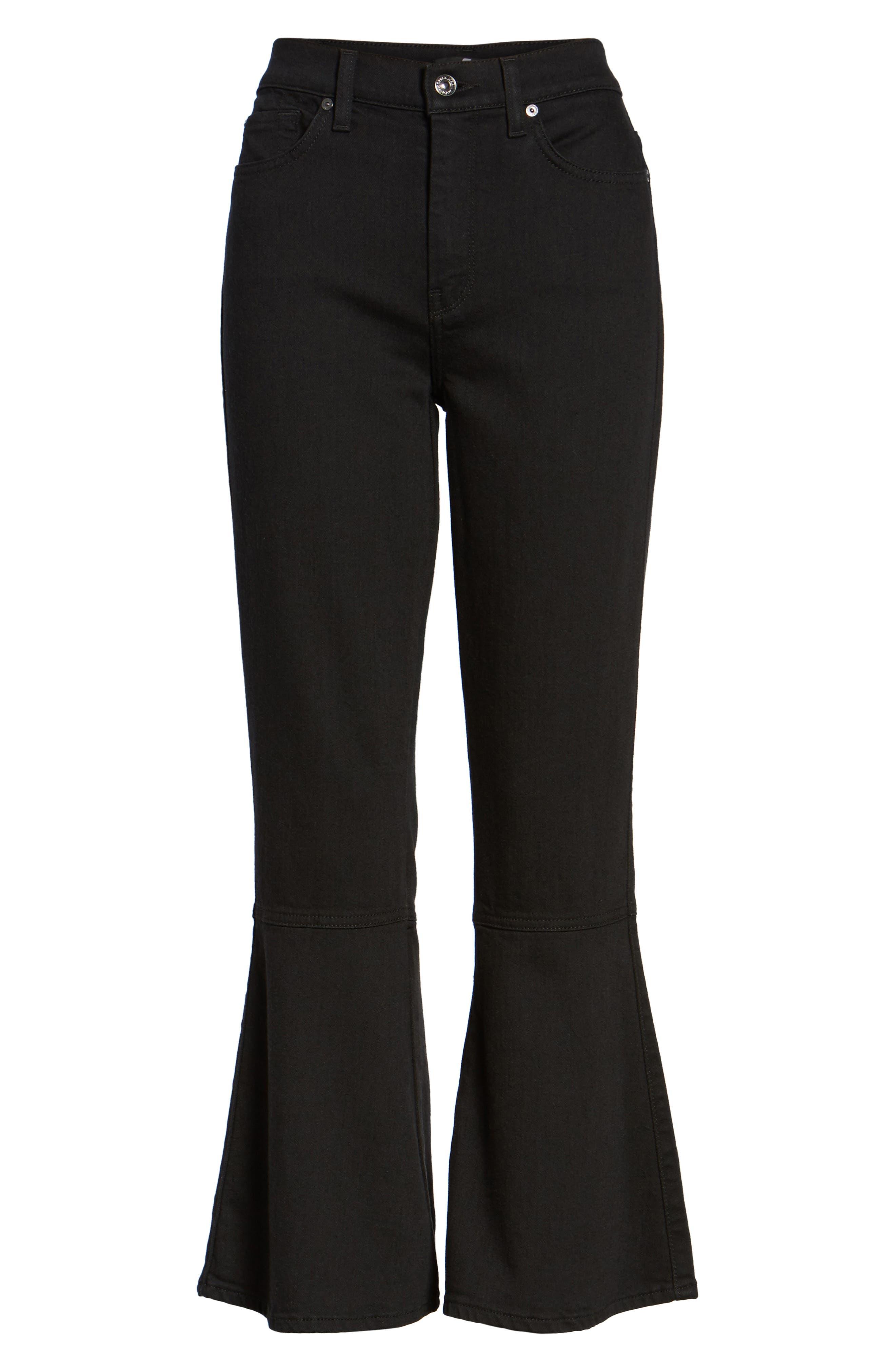 Priscilla High Waist Crop Flare Jeans,                             Alternate thumbnail 6, color,                             Night Black