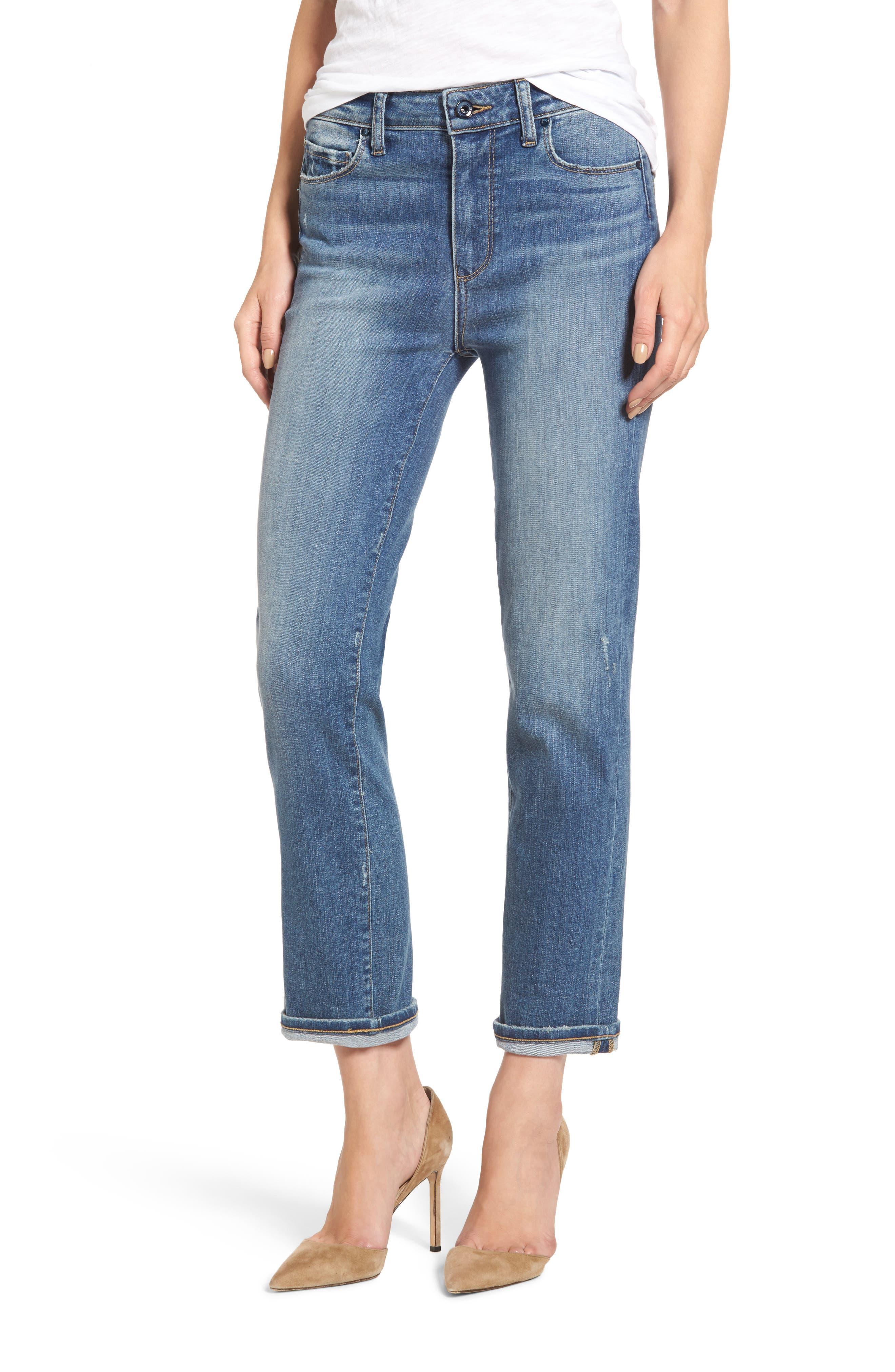 Main Image - PAIGE Transcend Vintage - Jacqueline High Waist Ankle Straight Leg Jeans (Sienna)