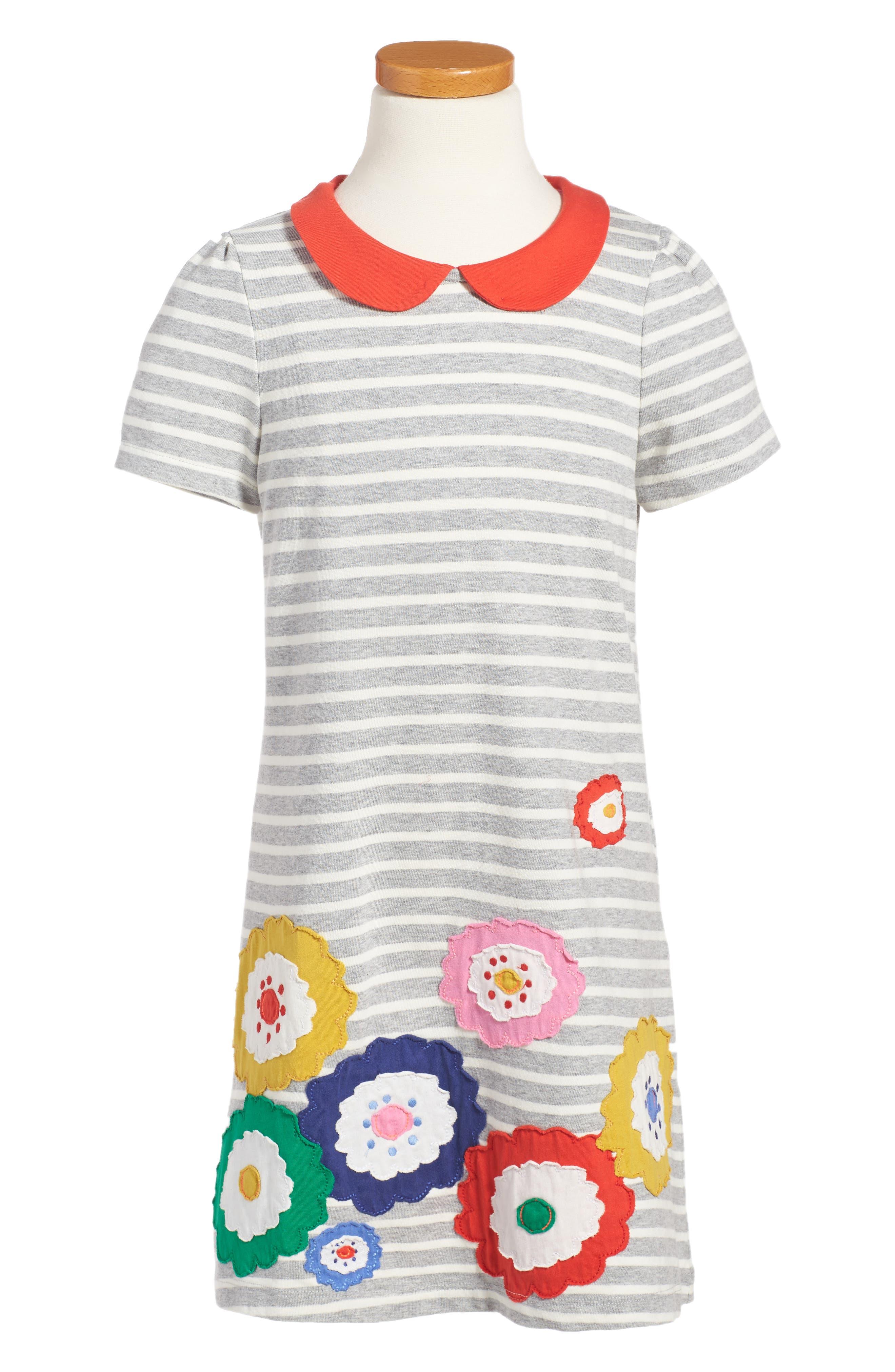 Fun Appliqué Jersey Dress,                         Main,                         color, Grey Flowers