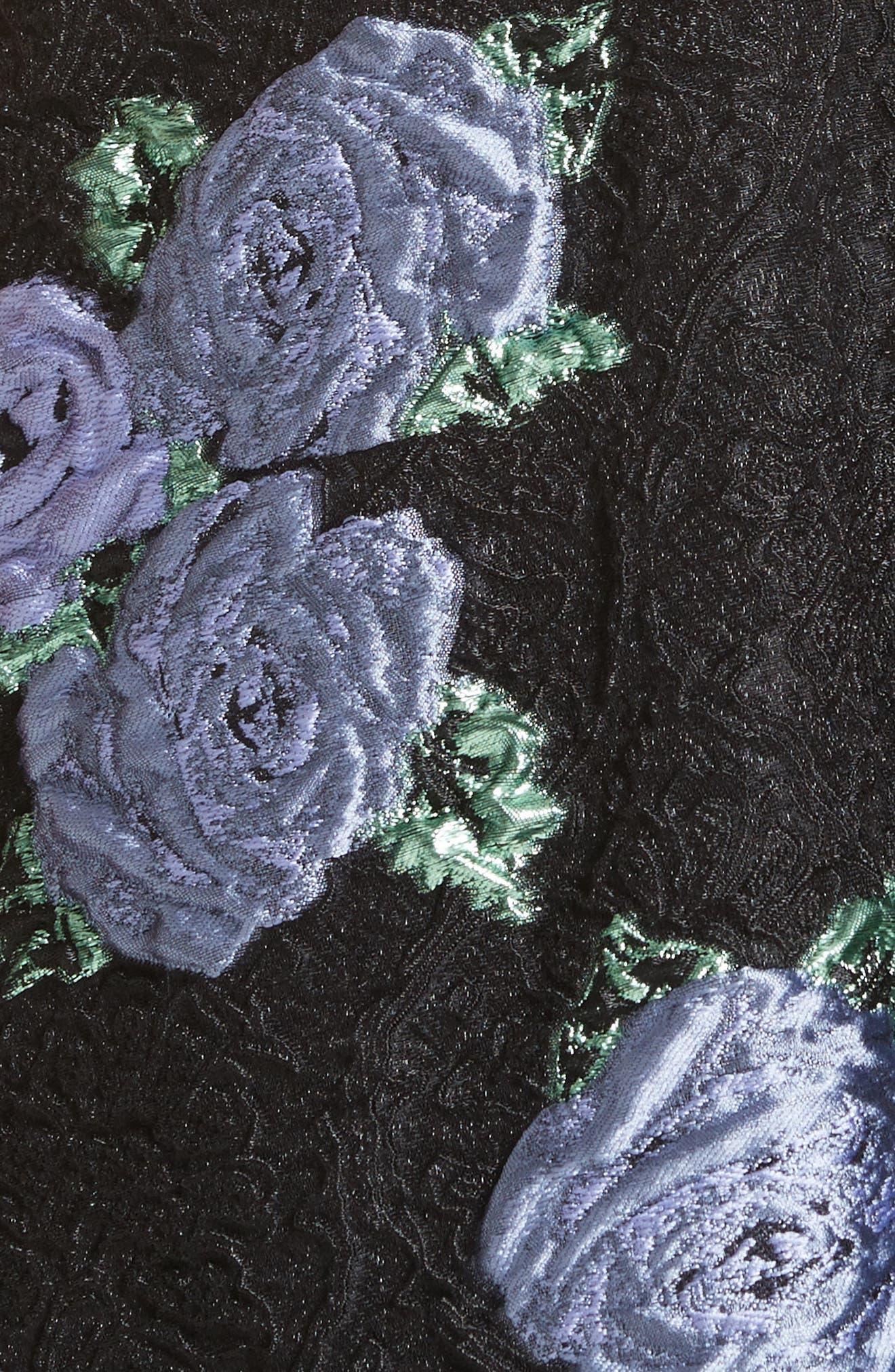 Floral Matelassé Fit & Flare Dress,                             Alternate thumbnail 6, color,                             Black Multi