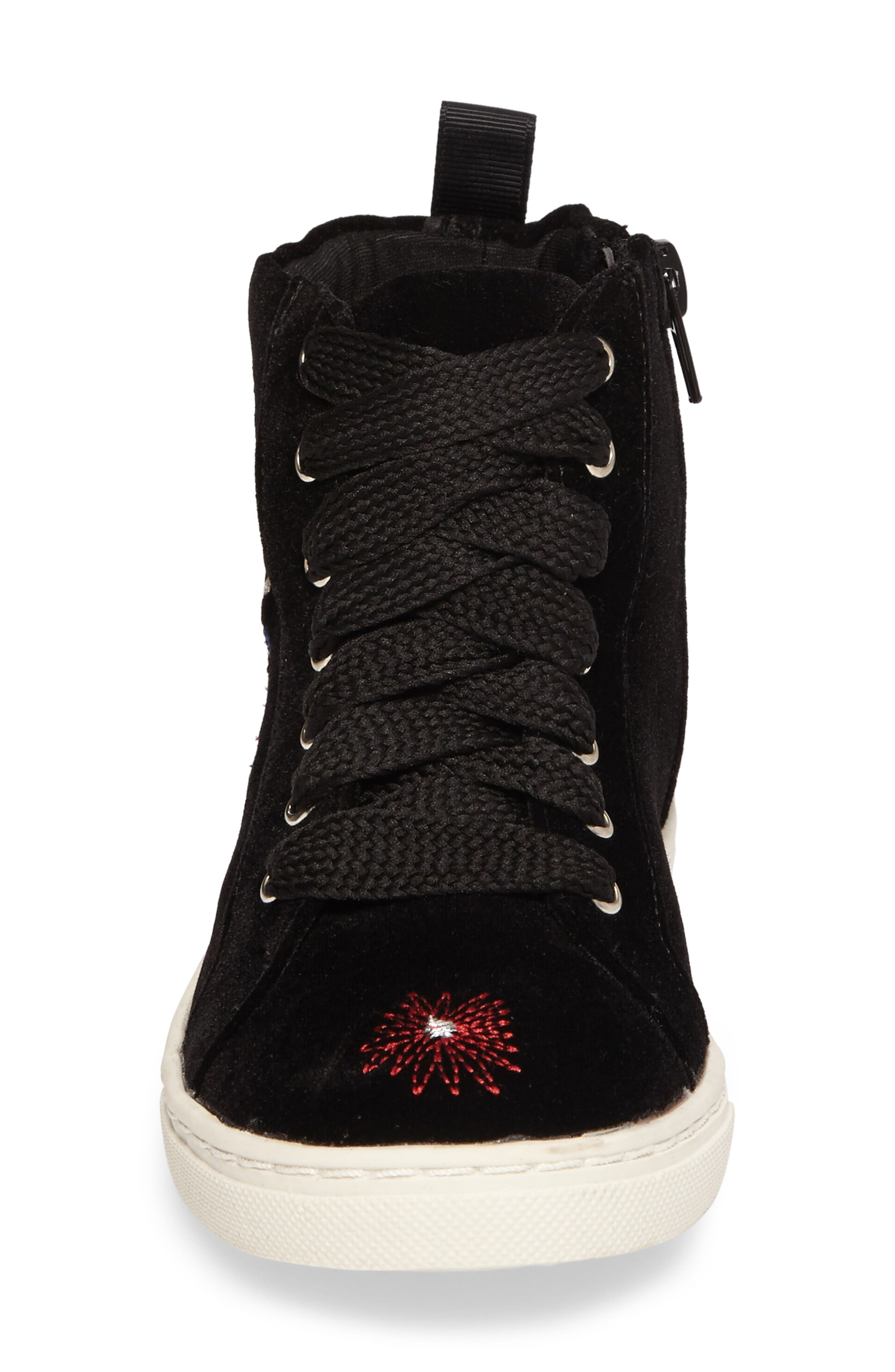 Zowen Embroidered High Top Sneaker,                             Alternate thumbnail 4, color,                             Black Multi Floral