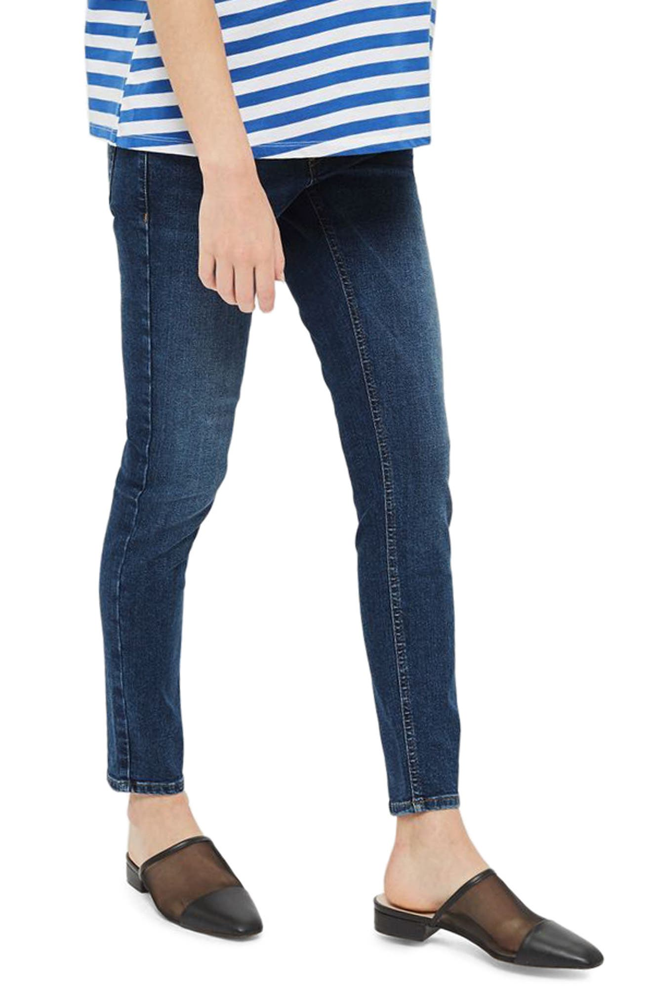 Jamie Over the Bump Maternity Skinny Jeans,                             Main thumbnail 1, color,                             Mid Denim