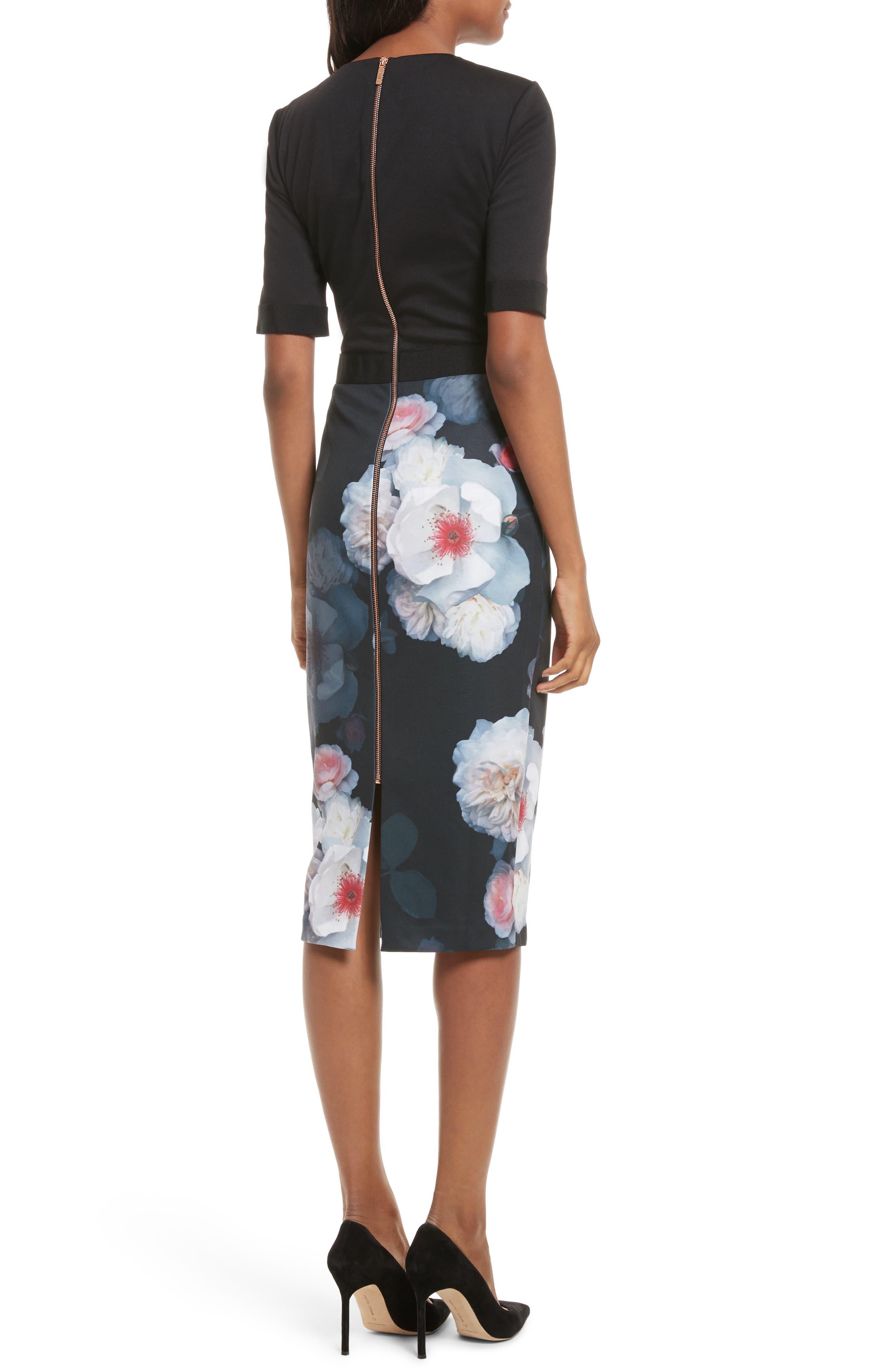 Maason Chelseas Floral Body-Con Dress,                             Alternate thumbnail 2, color,                             Black