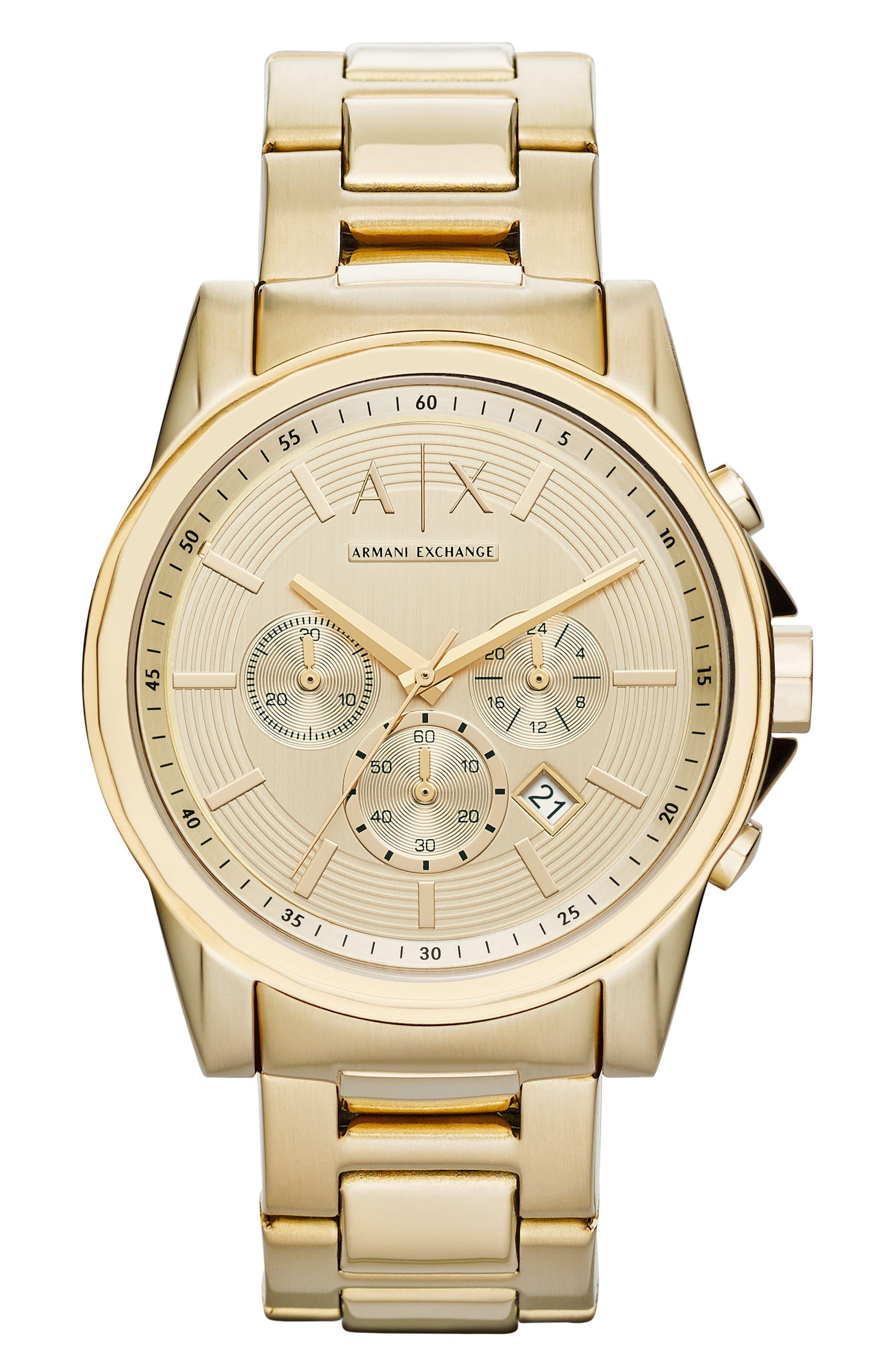 Chronograph Bracelet Watch, 45mm,                         Main,                         color, Gold
