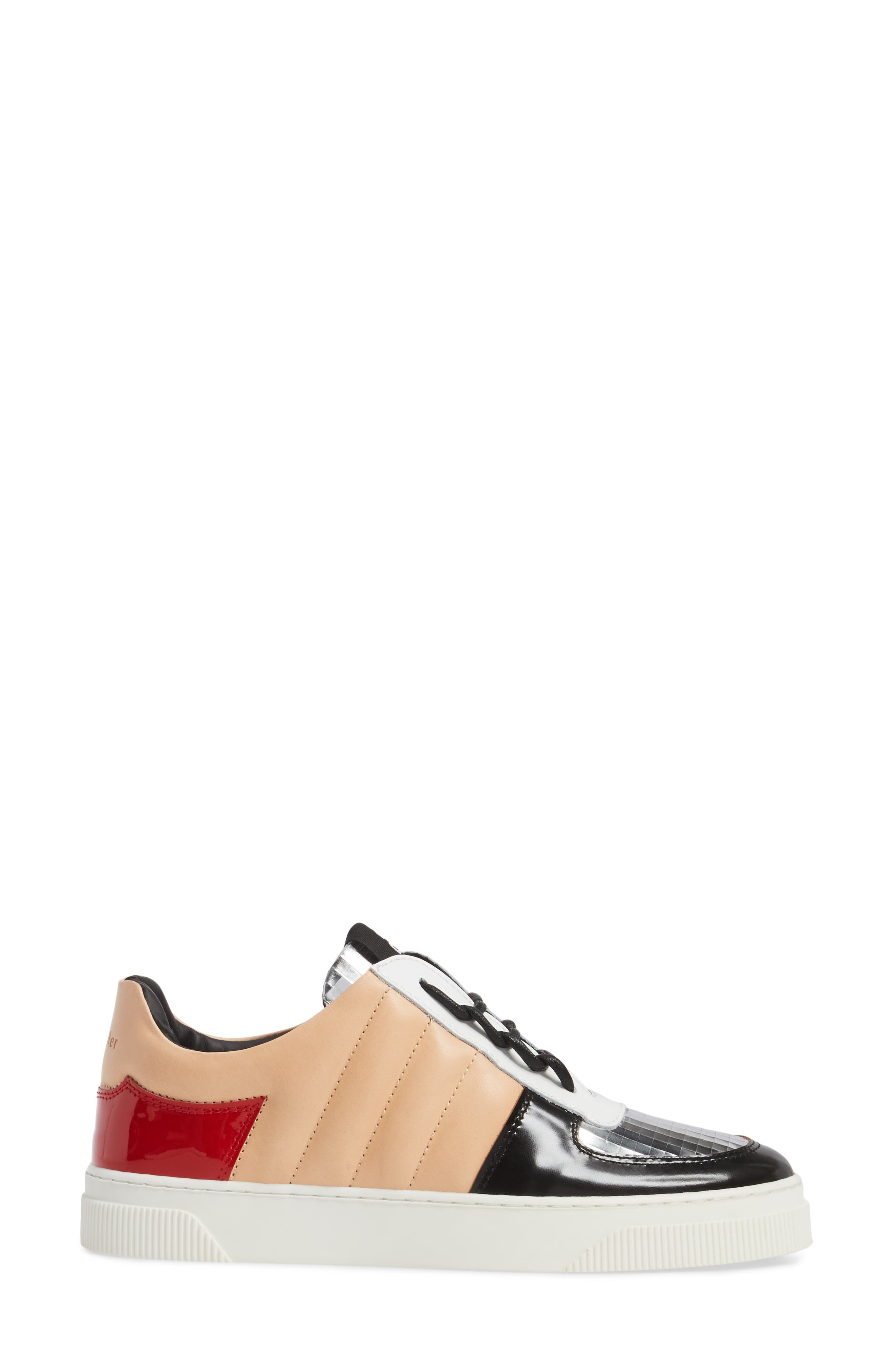 Sneaker,                             Alternate thumbnail 3, color,                             Beige/ Silver