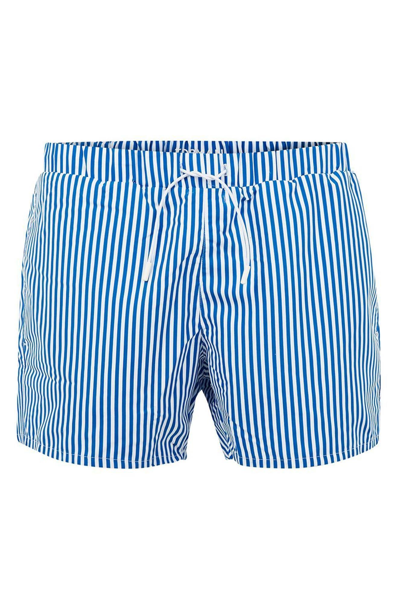 Stripe Swim Trunks,                             Alternate thumbnail 4, color,                             Mid Blue Multi