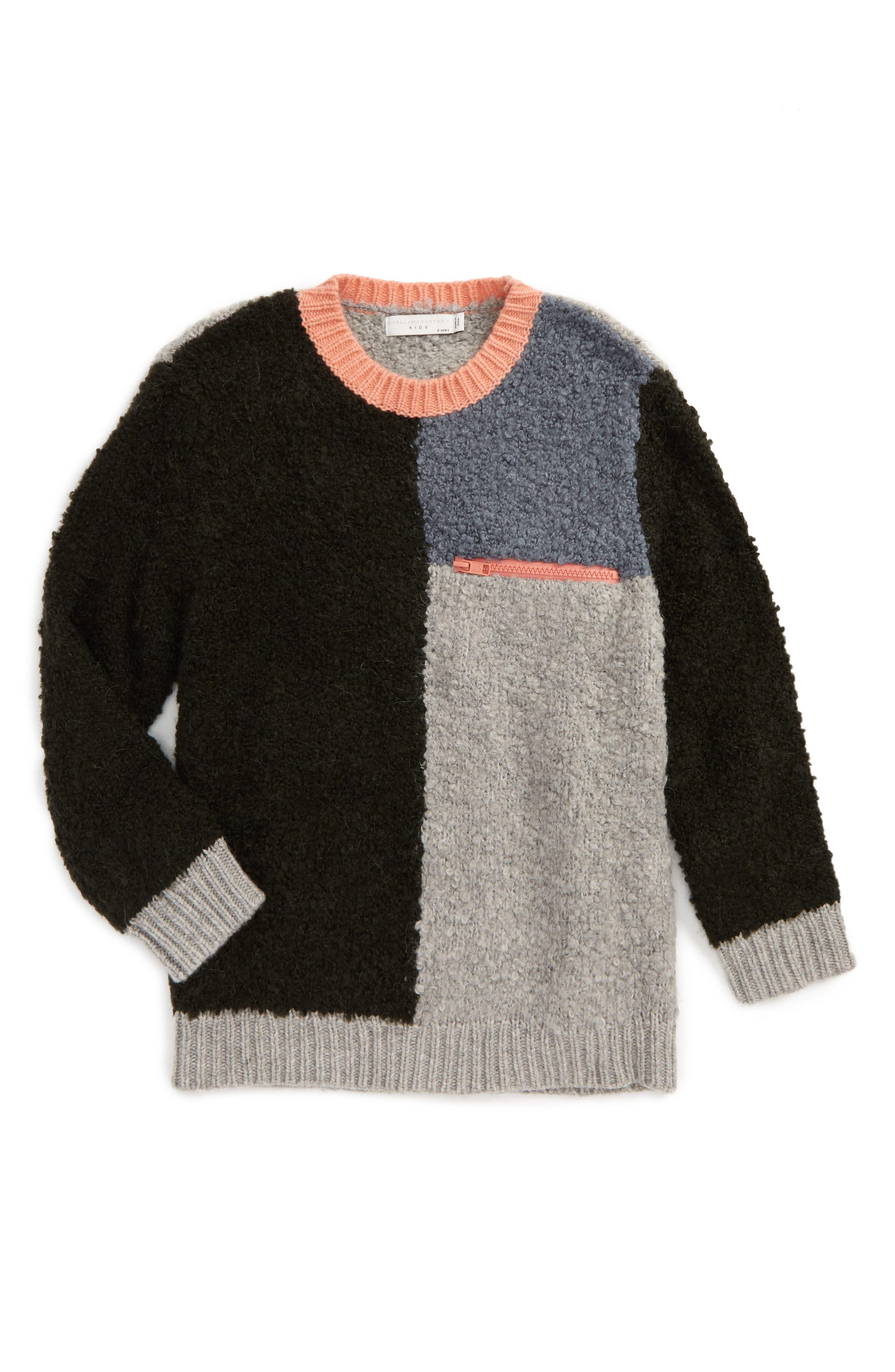 Kids Maya Colorblock Sweater,                             Main thumbnail 1, color,                             Petrol