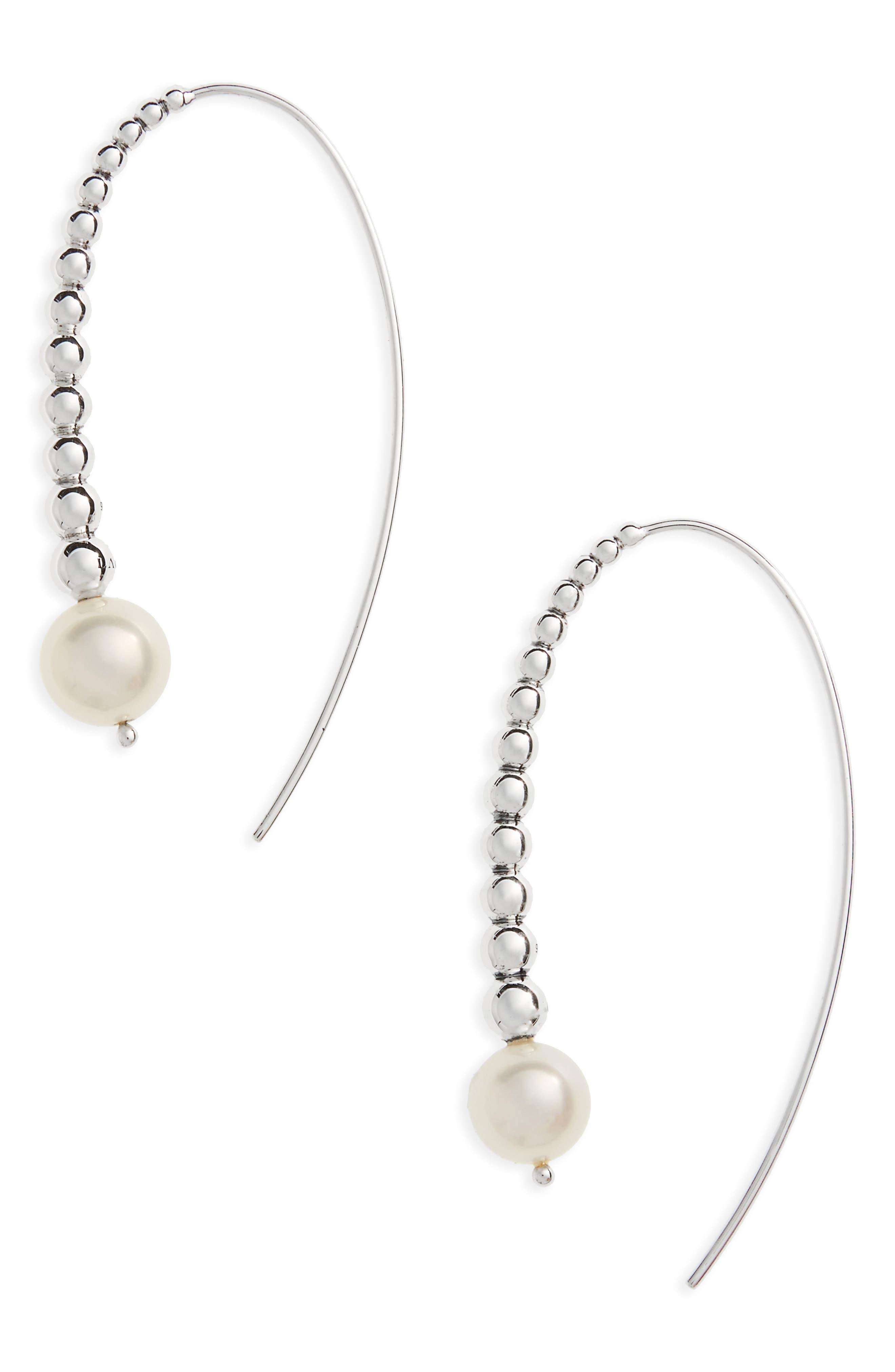 Threader Pearl Earrings,                         Main,                         color, Silver