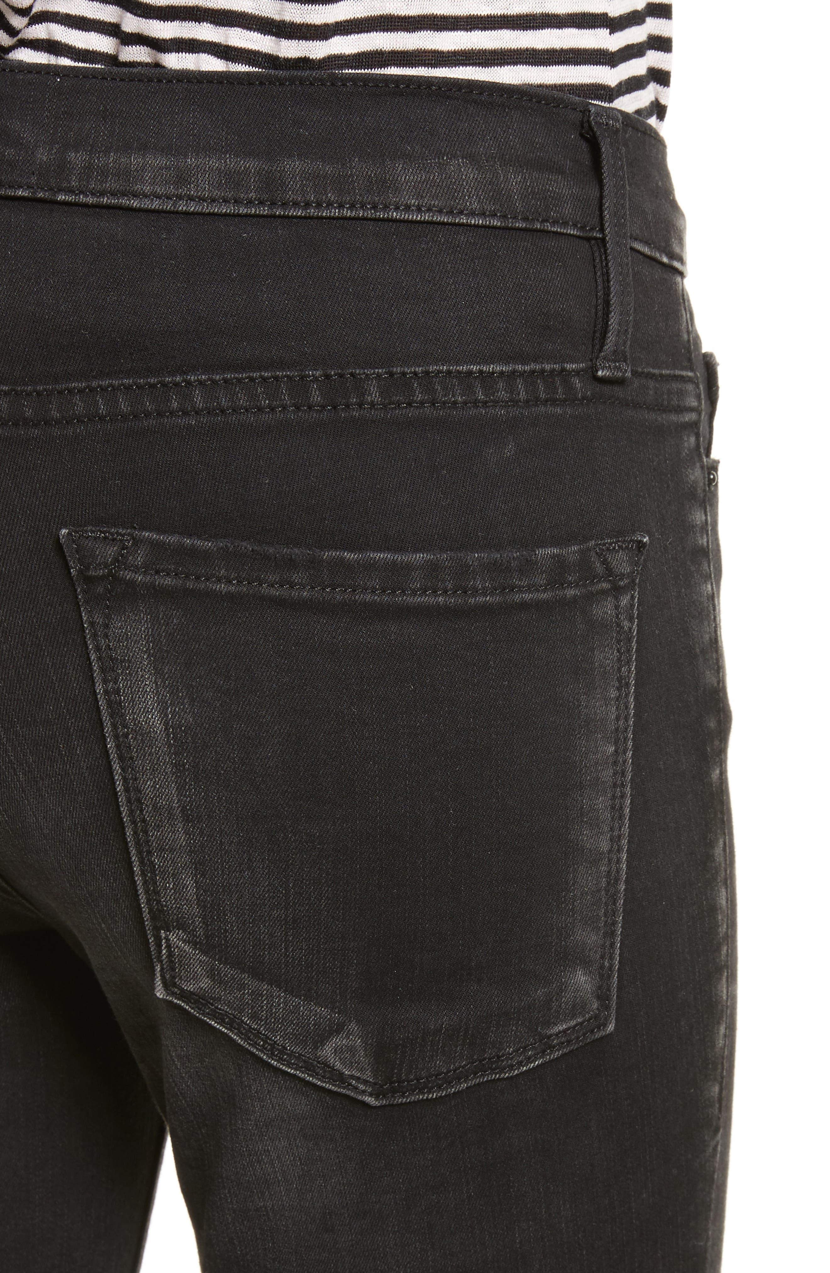 Le Skinny de Jeanne Raw Edge Skinny Jeans,                             Alternate thumbnail 4, color,                             Oxshott