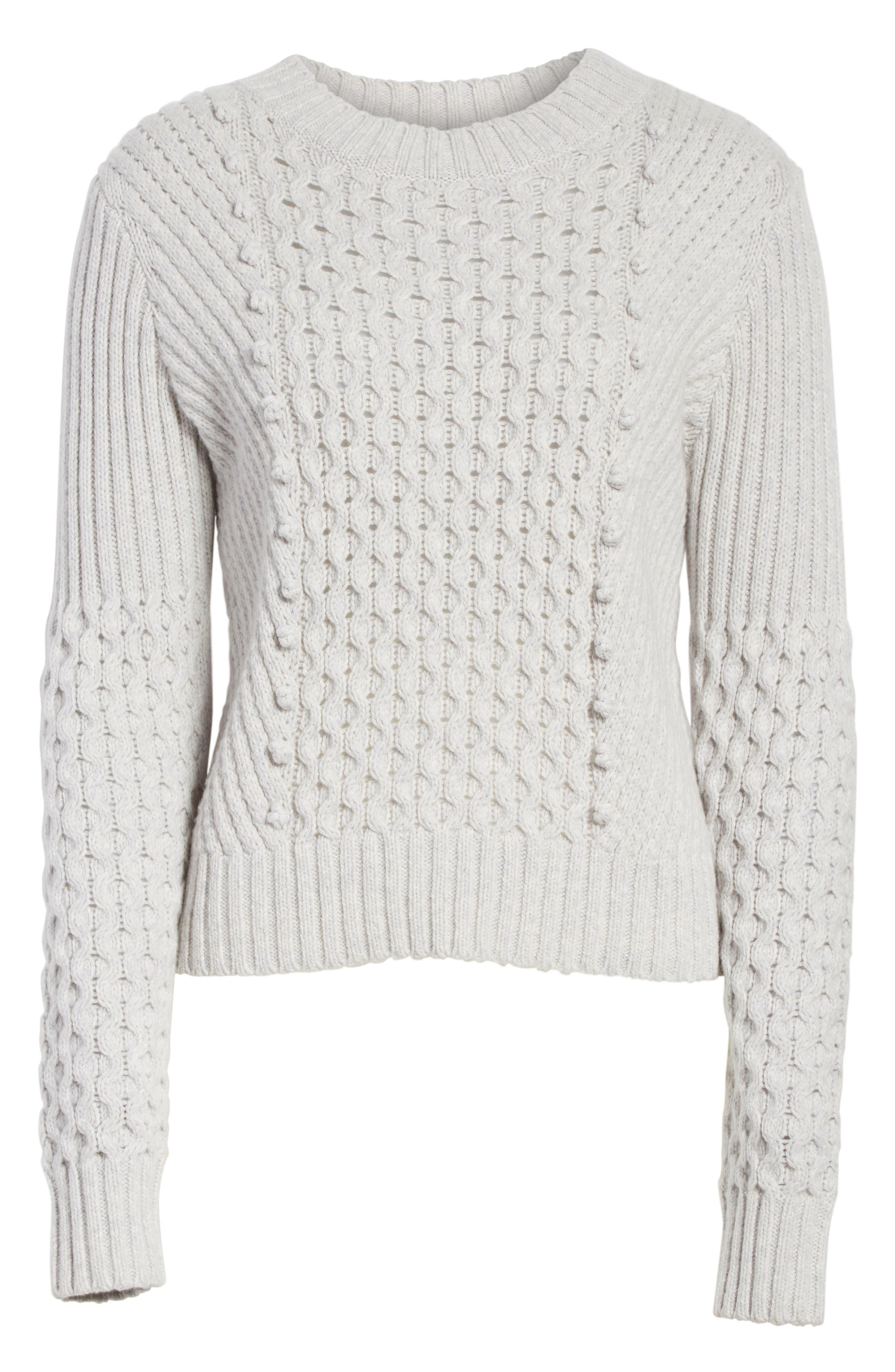 Honeycomb Stitch Sweater,                             Alternate thumbnail 6, color,                             Light Grey Heather