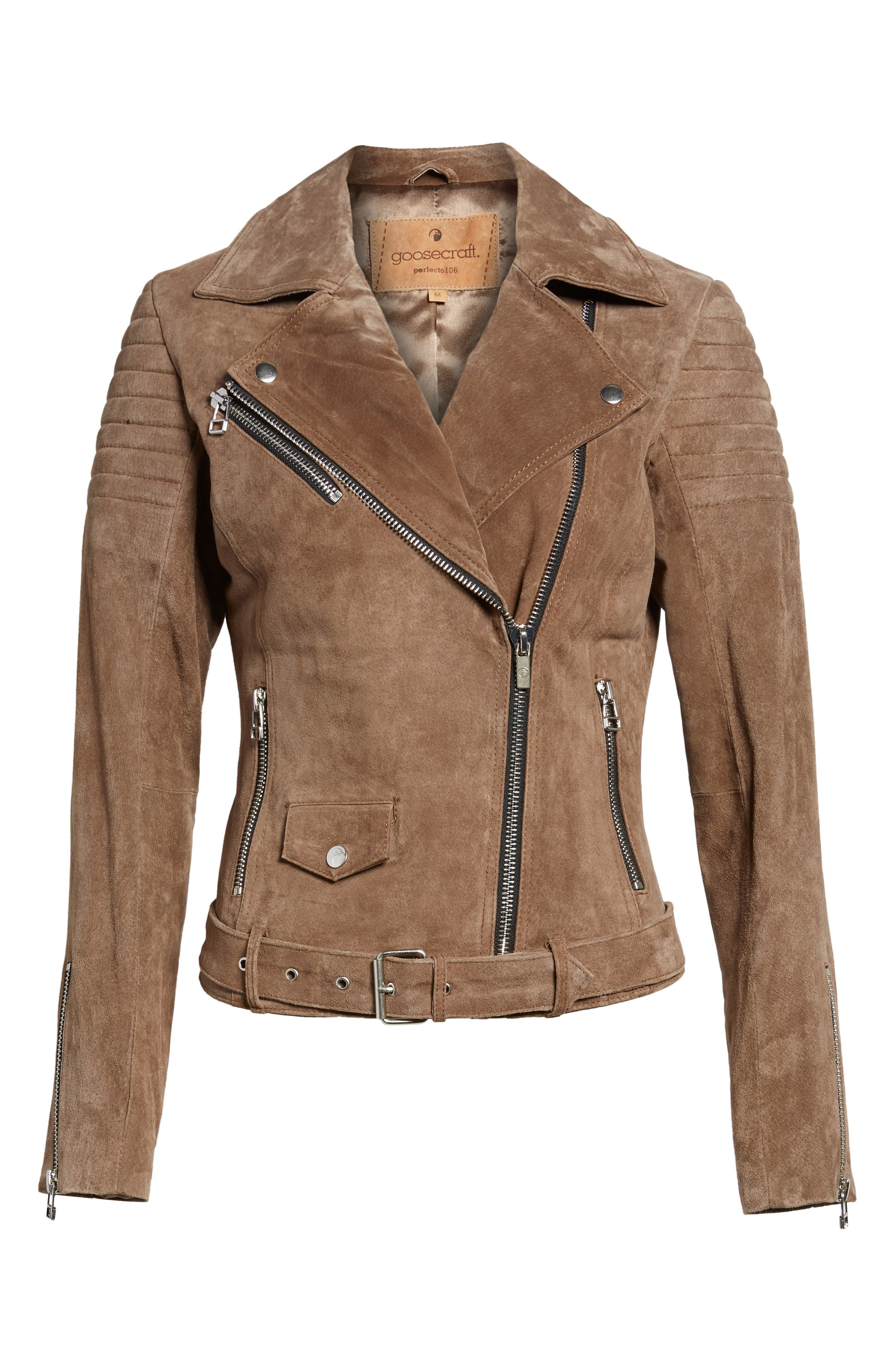 Suede Moto Jacket,                             Alternate thumbnail 6, color,                             Taupe