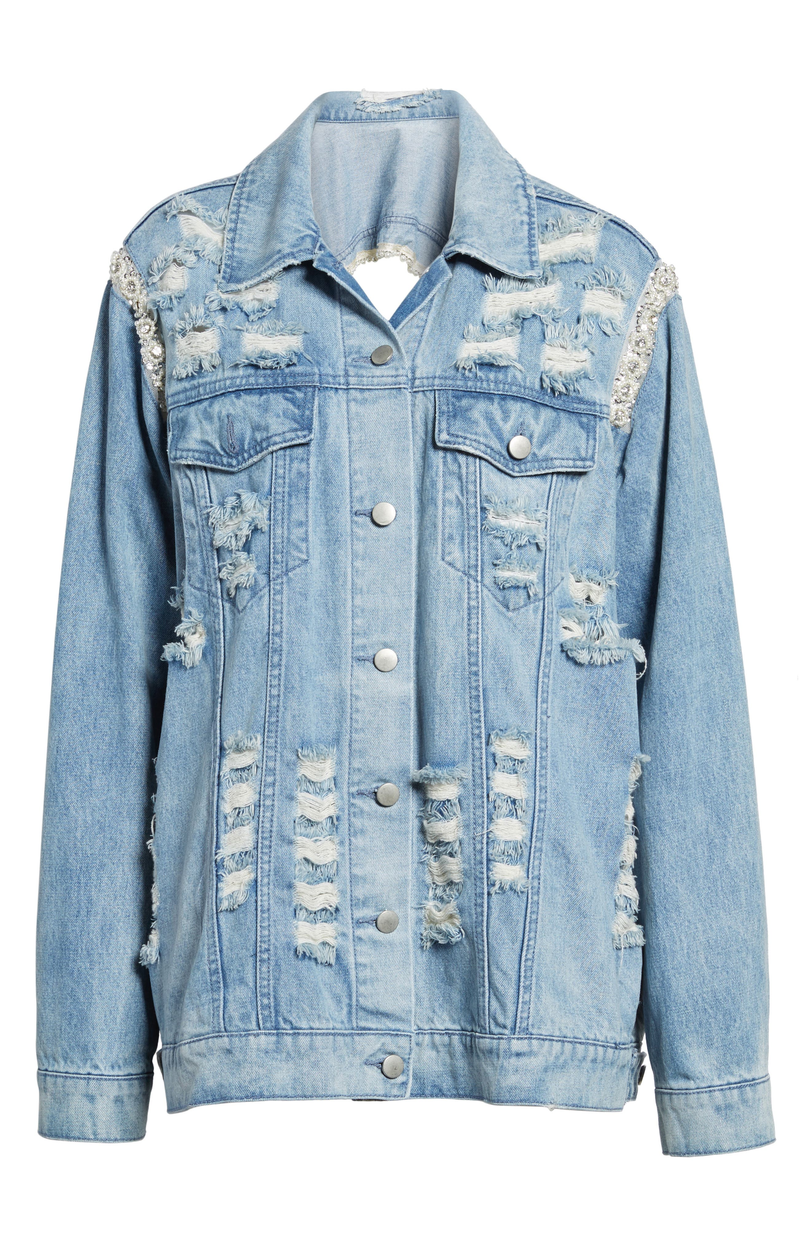 Embellished Ripped Denim Jacket,                             Alternate thumbnail 6, color,                             Blue W/ Pearls & Diamonds