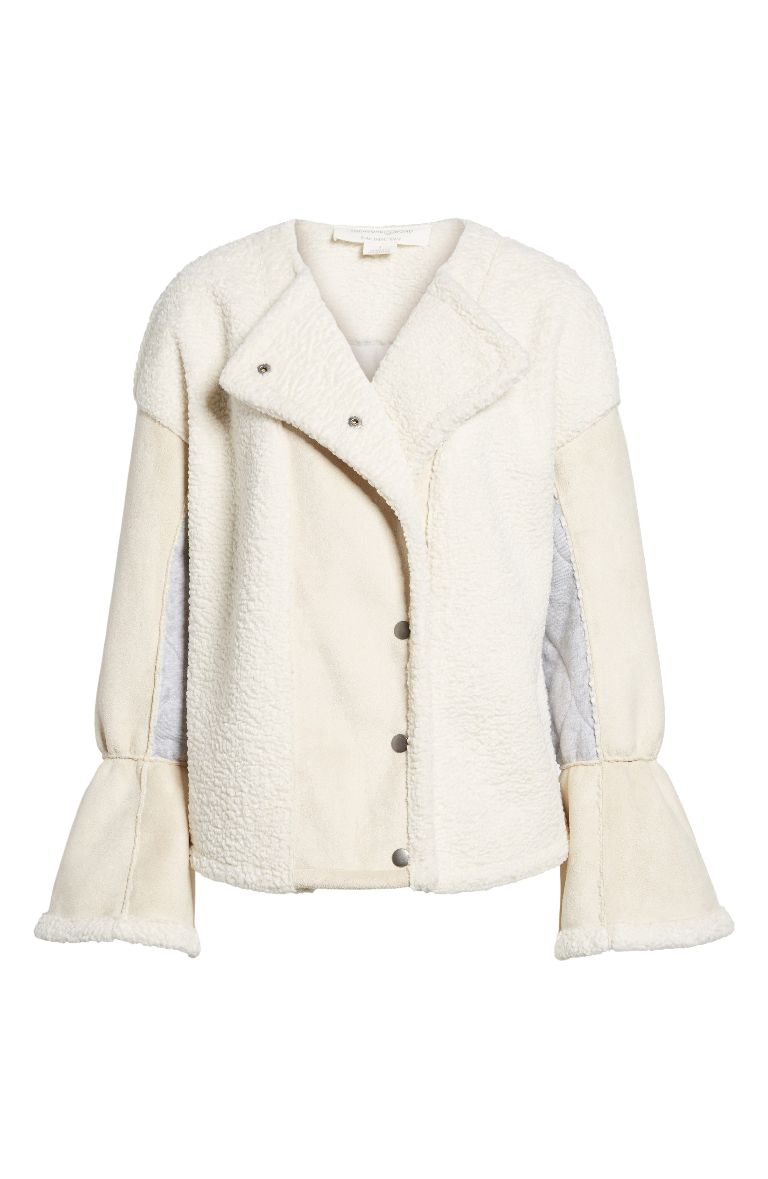 x Something Navy Bell Sleeve Faux Shearling Jacket,                             Alternate thumbnail 7, color,                             Ivory Combo