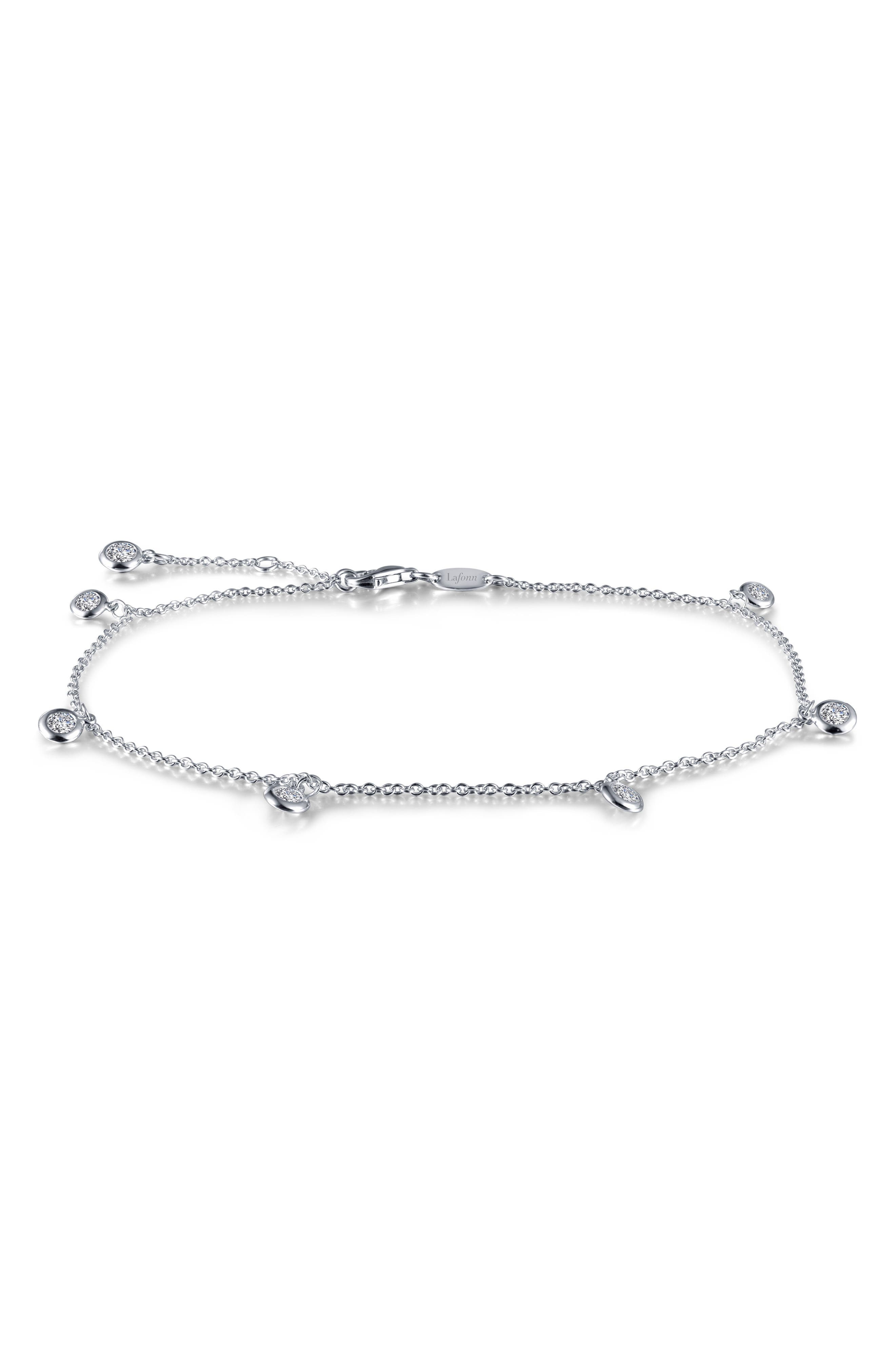 Dangling Simulated Diamond Anklet,                         Main,                         color, Silver/ Clear