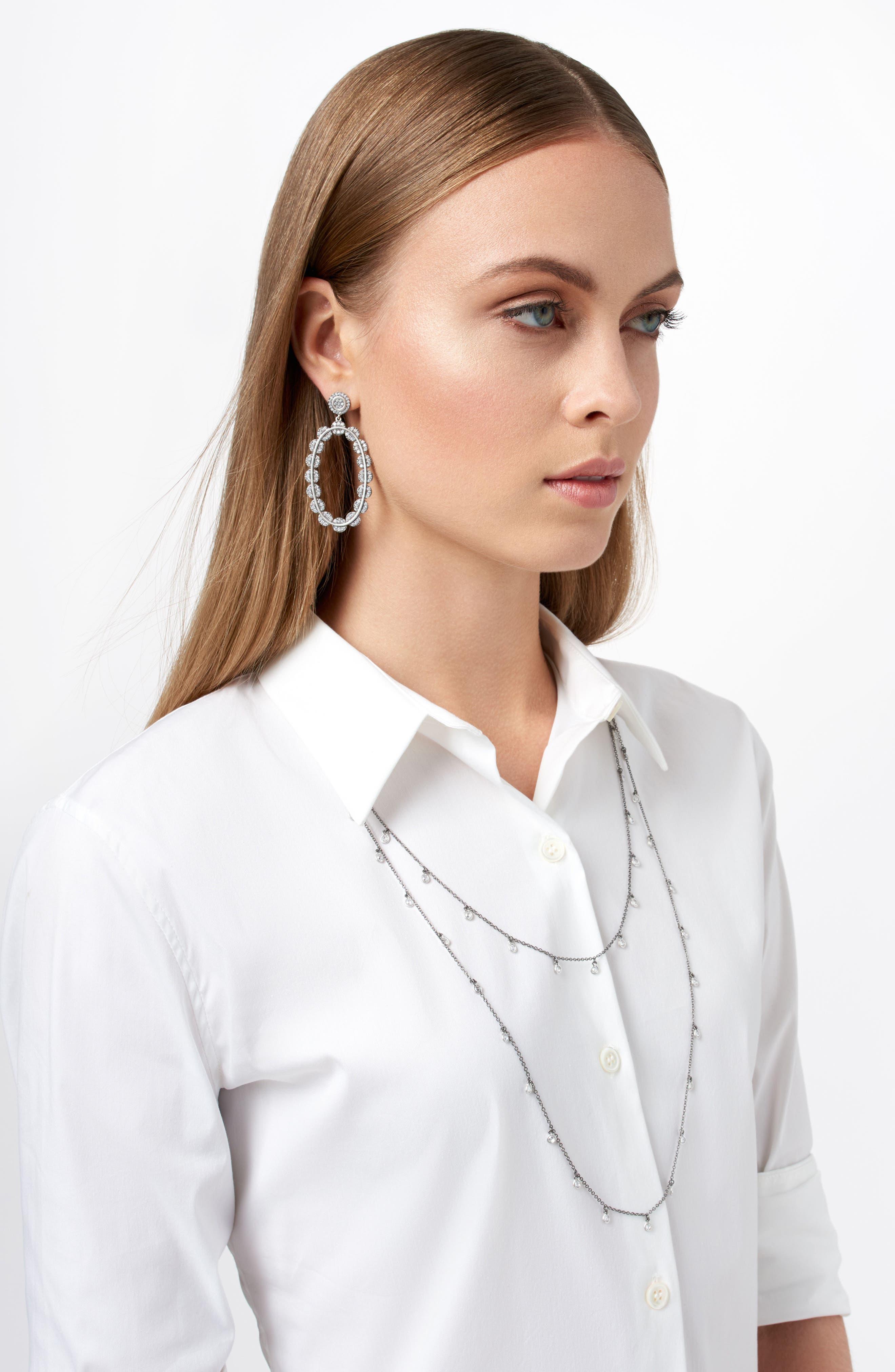 Cubic Zirconia Oval Drop Earrings,                             Alternate thumbnail 2, color,                             Black/ Silver